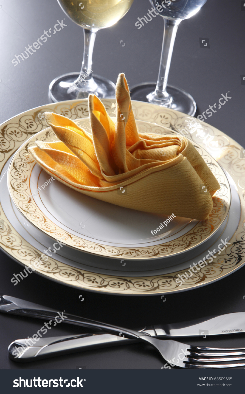 Table Setting For Fine Dining Or Party Cutlery And Plate Set Up For Wedding