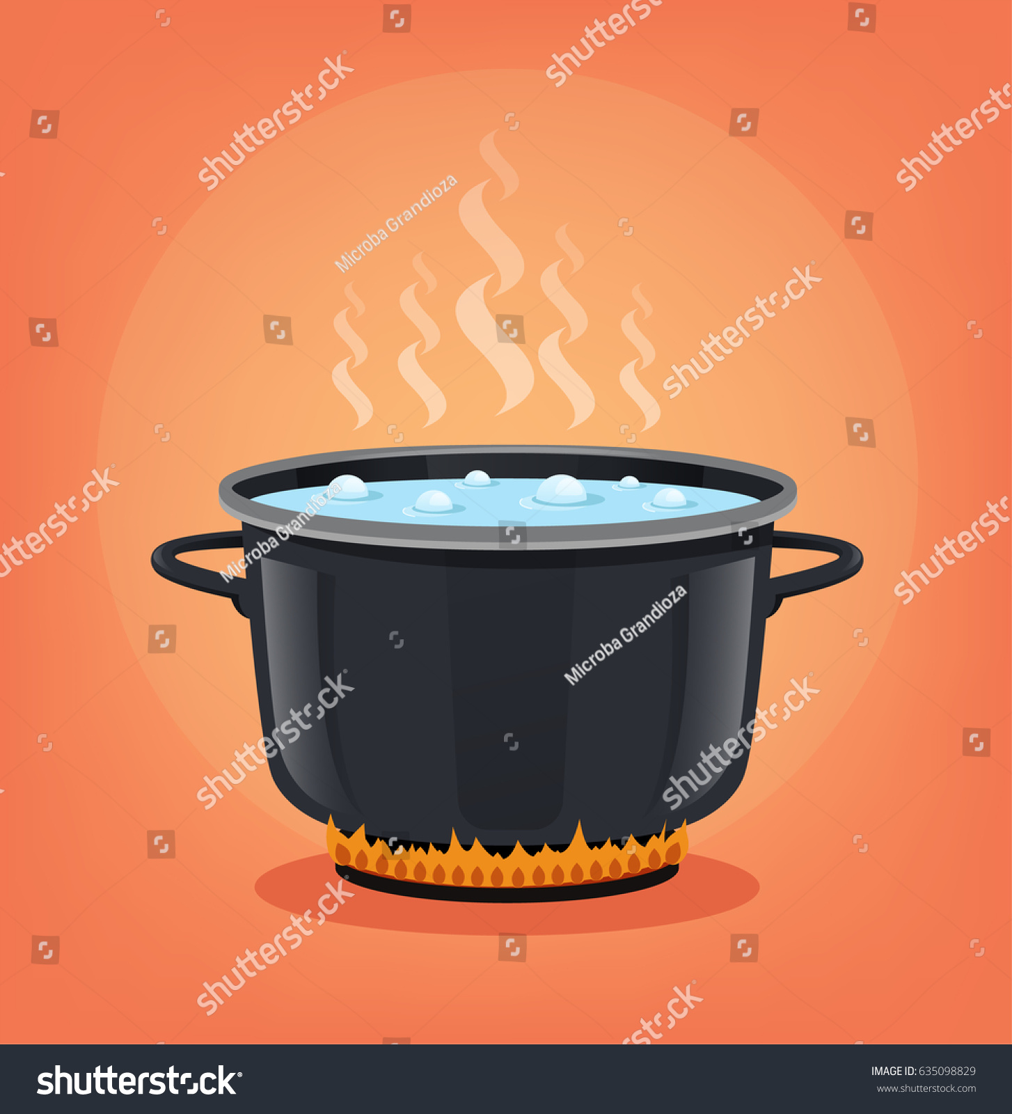 Boiling Water Black Pan Cooking Concept Stock Vector ...