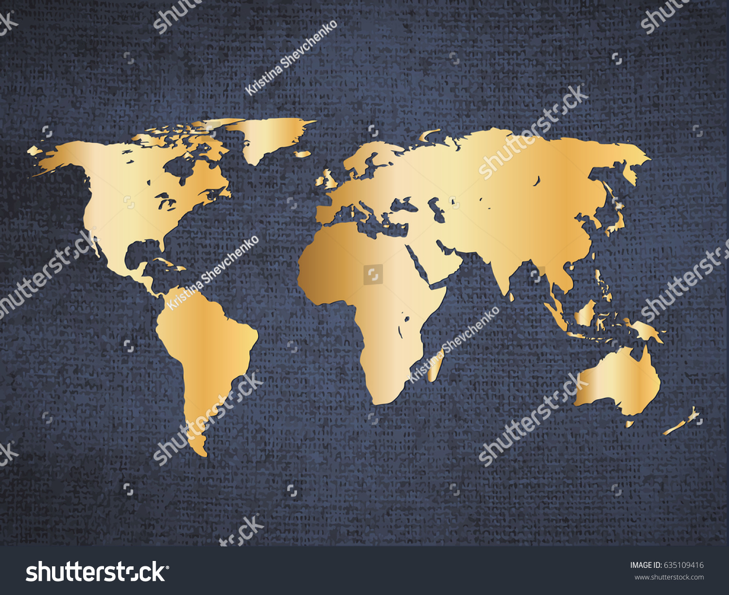 Gold world map on deep blue stock vector 2018 635109416 shutterstock gold world map on deep blue canvas background vector illustration poster gumiabroncs Gallery