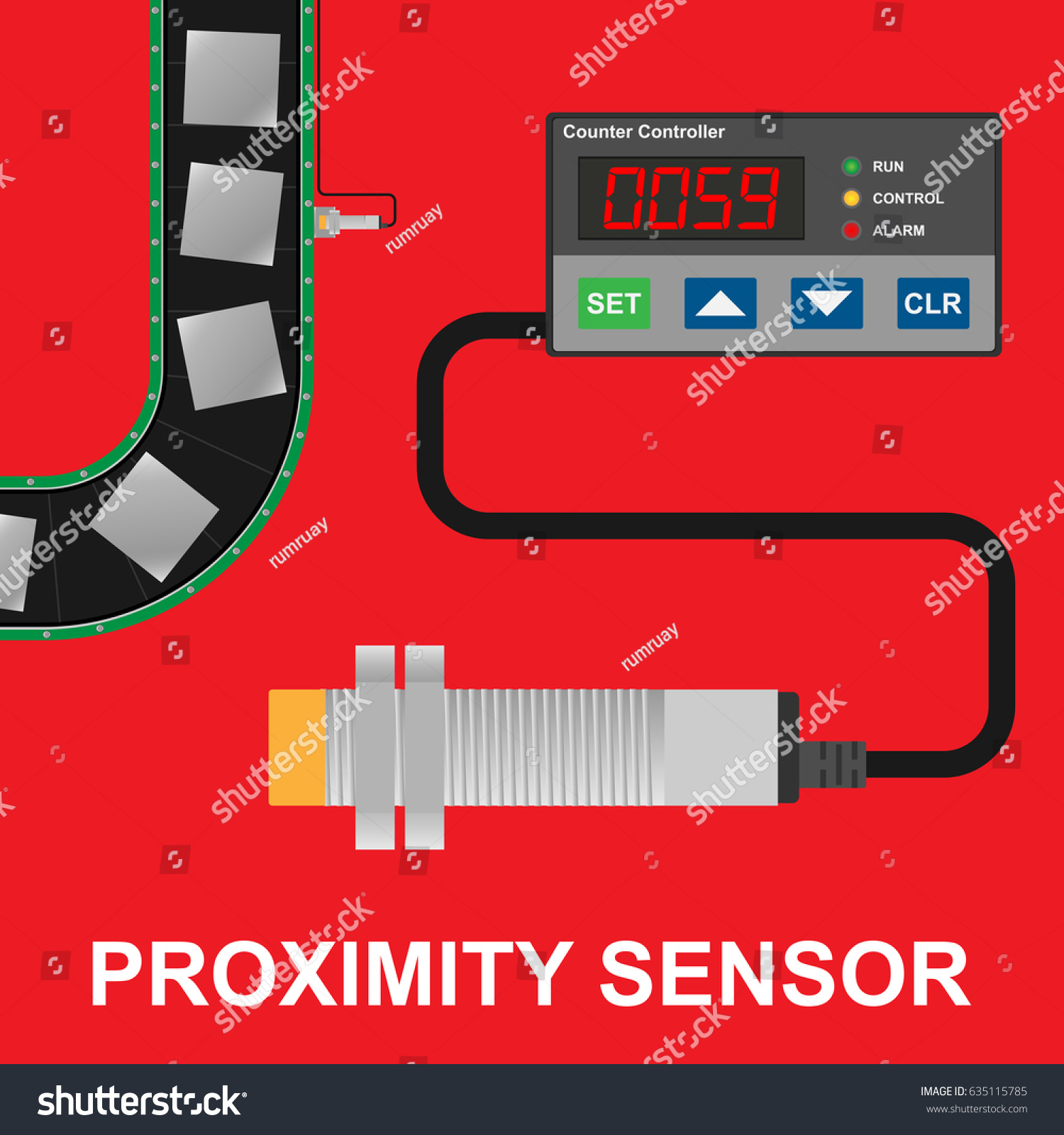 Proximity Sensor Counter Controller Conveyor Belt Stock Vector Switch Wiring Diagram With Production Line