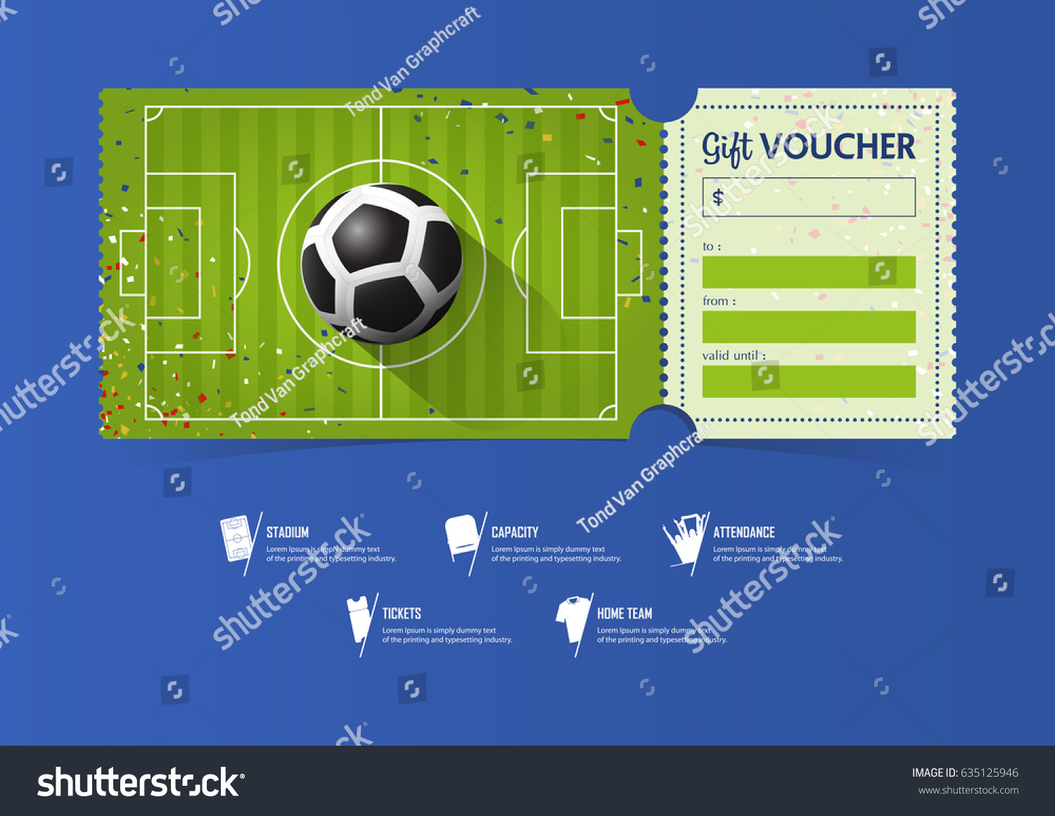 Tickets template design for football or soccer match. Gift.