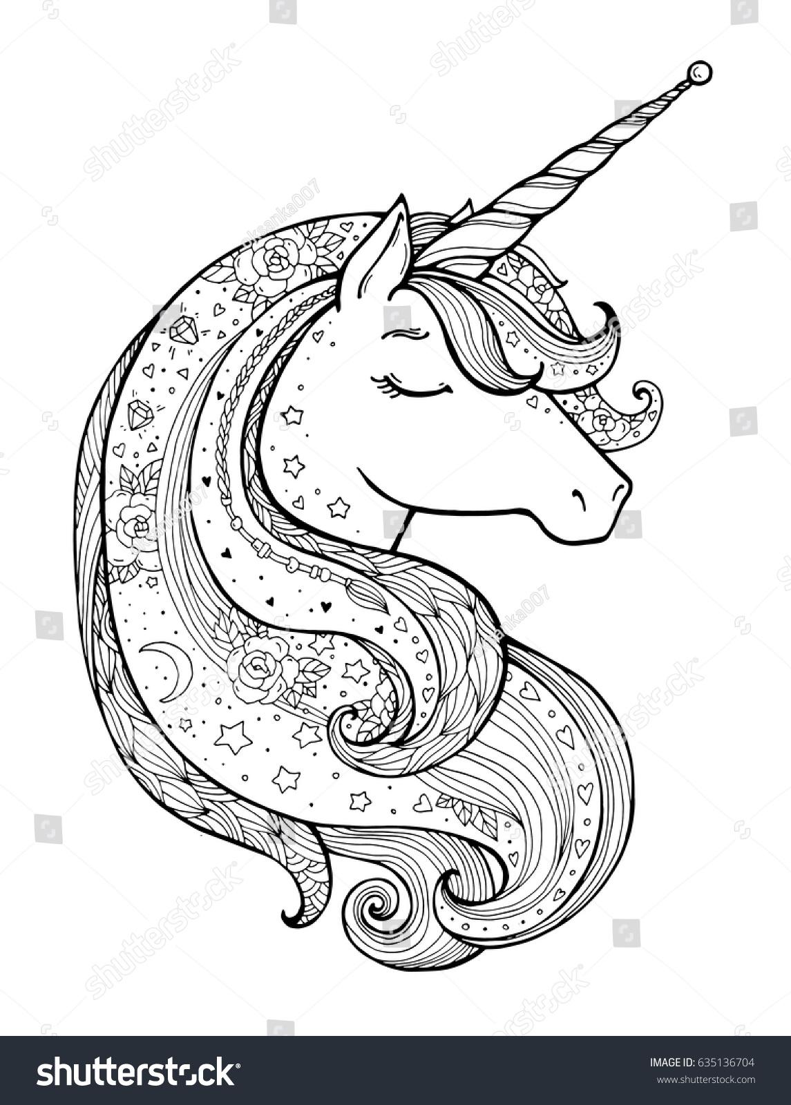 Unicorn Magical Animal Vector Artwork Black Stock Vector