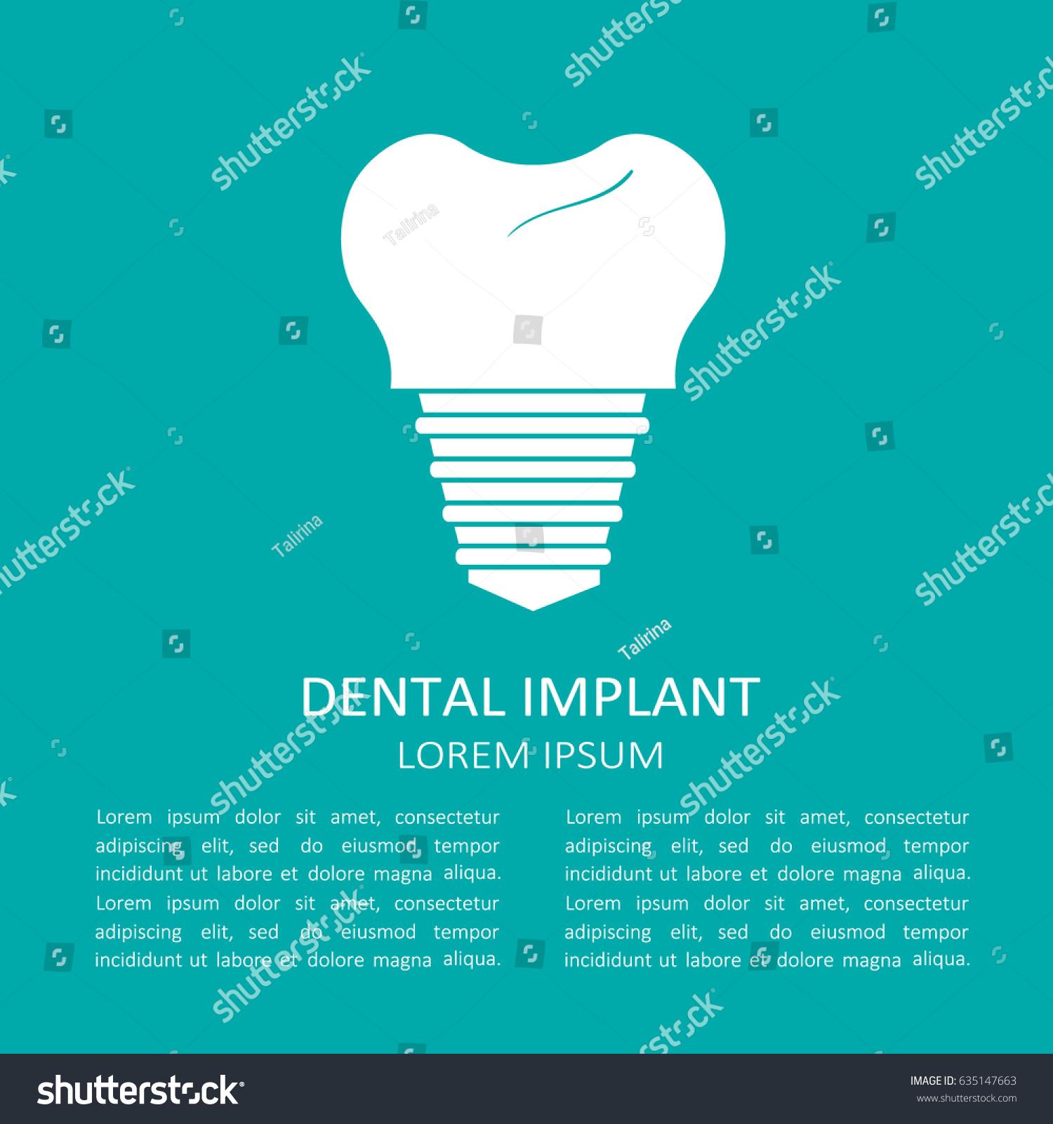 Medical Illustration Symbol Dental Implant Text Stock Vector