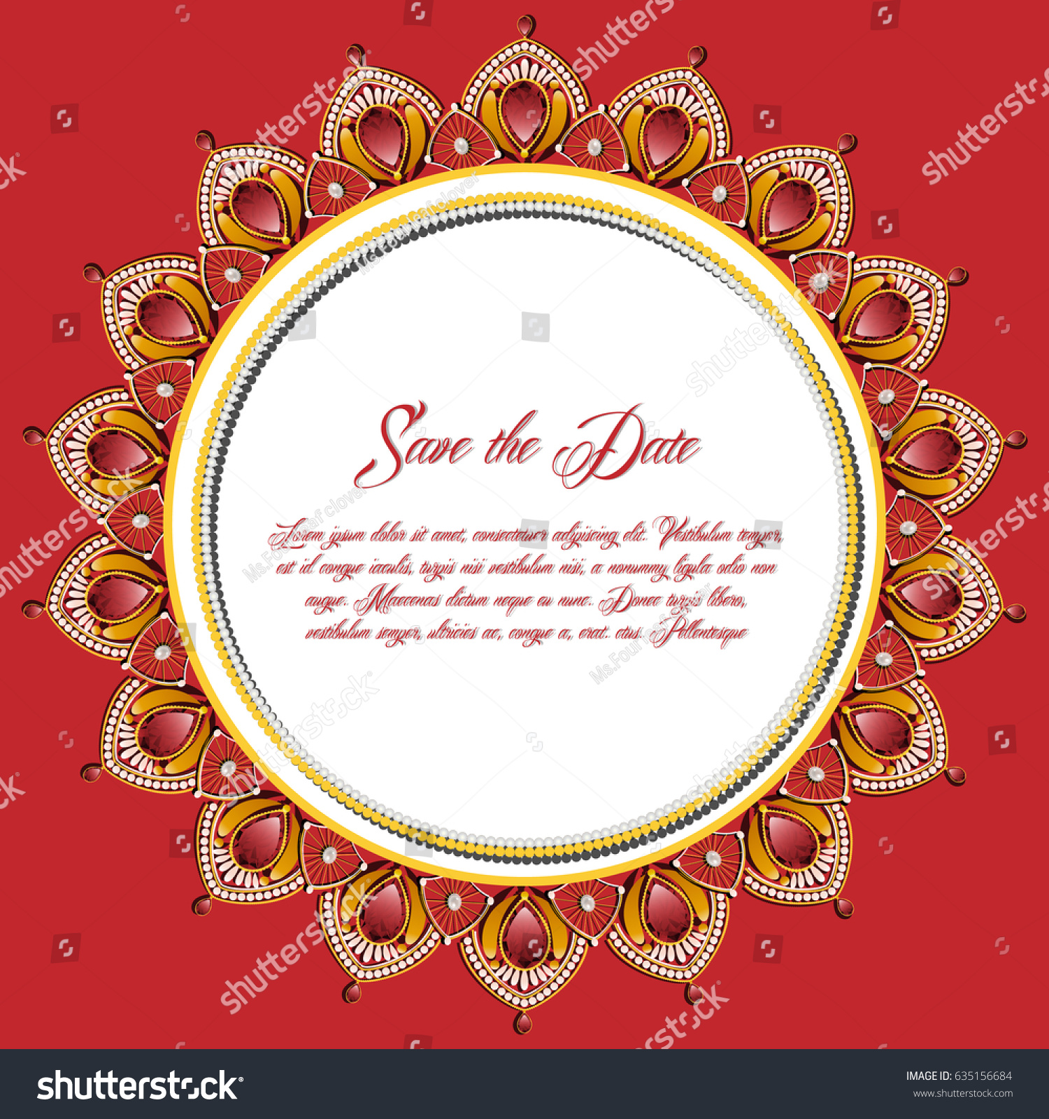 Vintage Greeting Card Gold Jewelry Decoration Stock Vector 635156684 ...