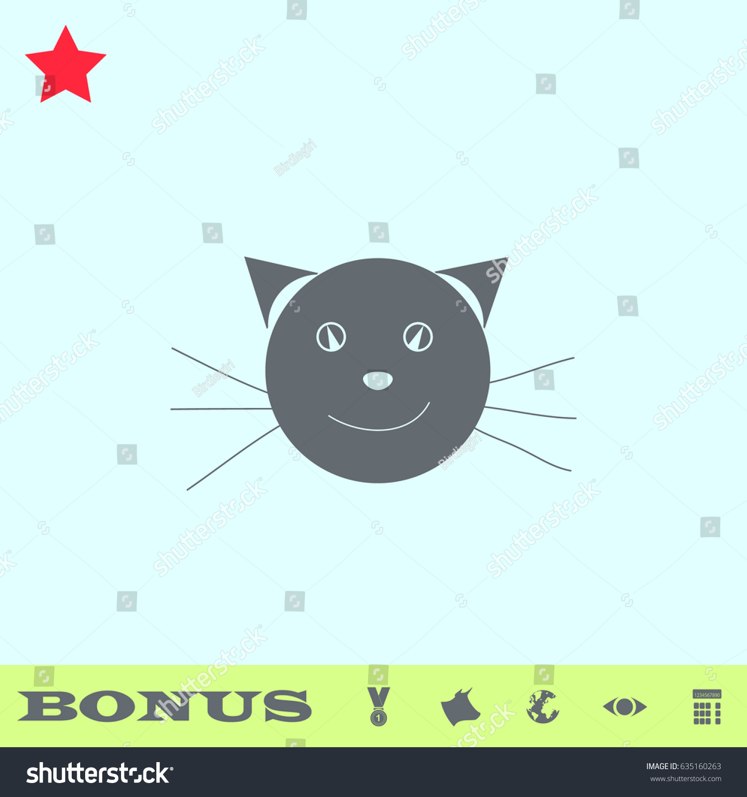 Cat Face Icon Flat Simple Gray Stock Illustration 635160263