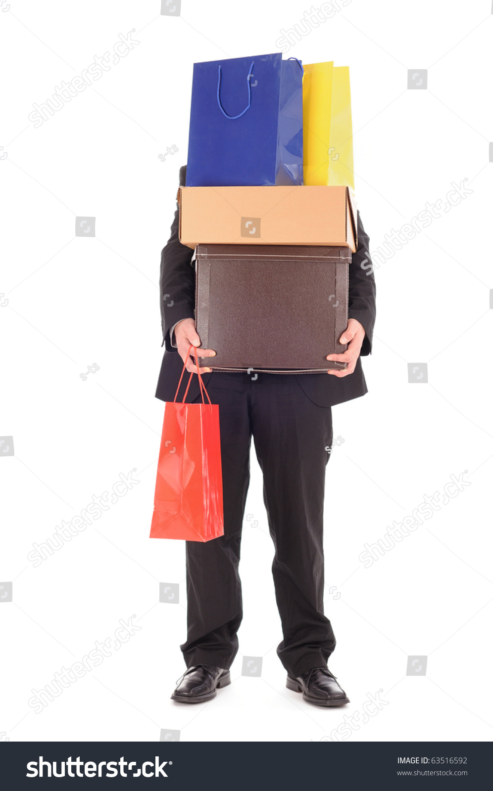 Man Carrying Shopping Bags Stock Photo 63516592 - Shutterstock