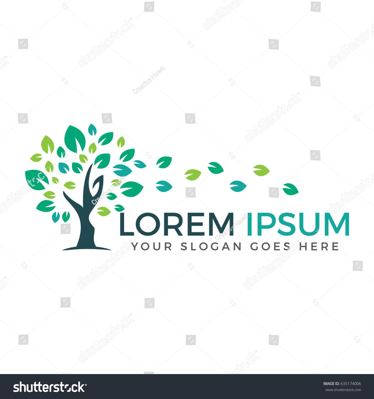 green tree vector logo design natural stock vector