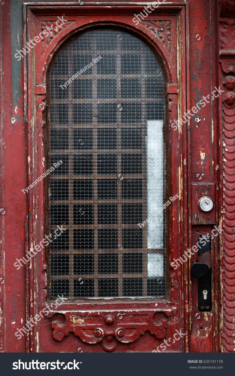 Old Wooden Door Glass Windows Carved Stock Photo 635191178 ...