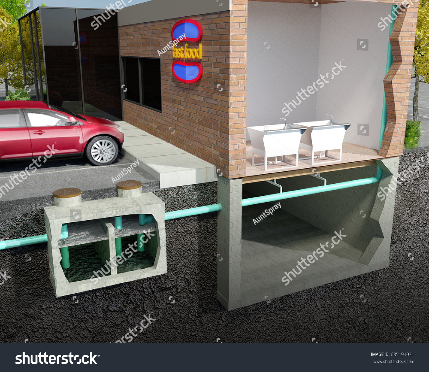 Schematic Sectionview 3 D Illustration Grease Interceptor Stock Diagram 2 Under The Sink Trap A Section View 3d Of