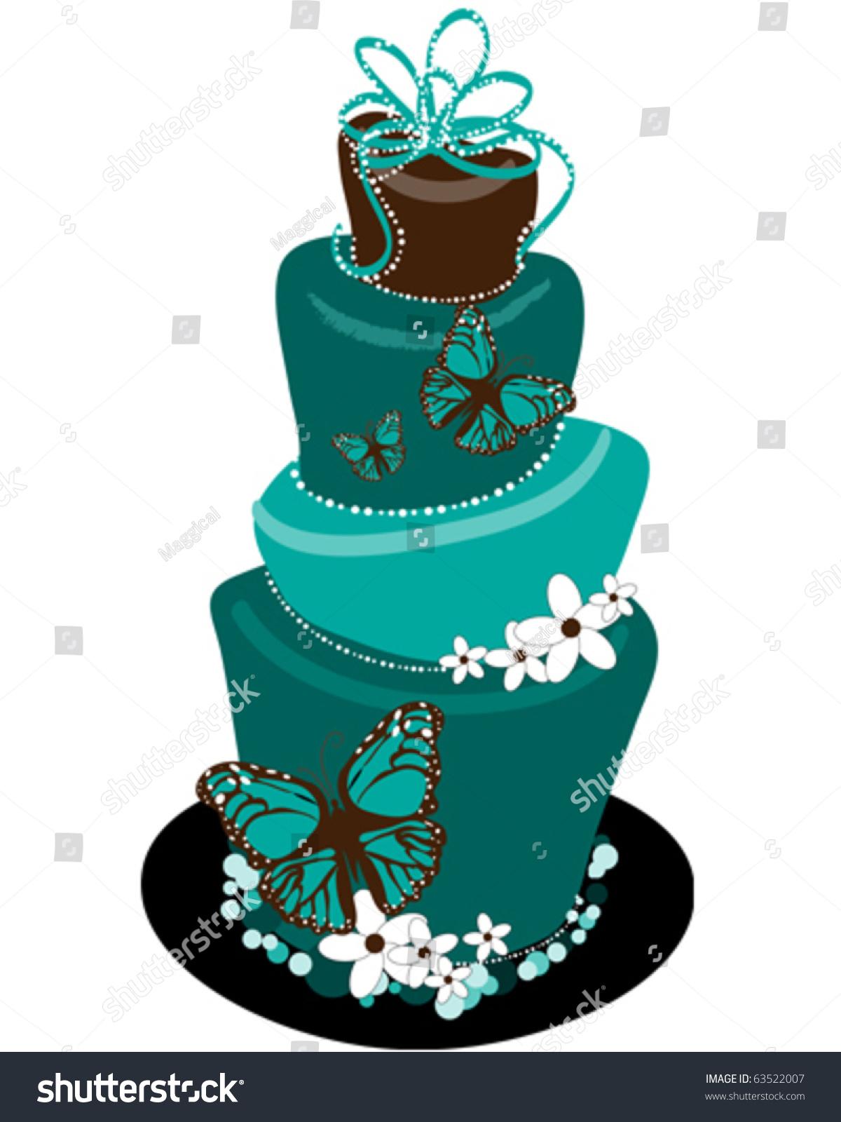 Whimsical Wedding Cake Stock Vector Illustration 63522007