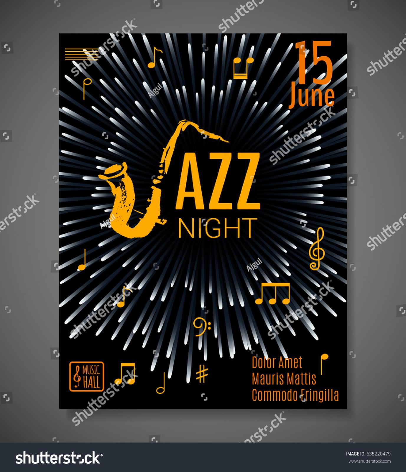Jazz night background vector design poster stock vector royalty jazz night background vector design for poster flyer card invitation jazz stopboris Choice Image