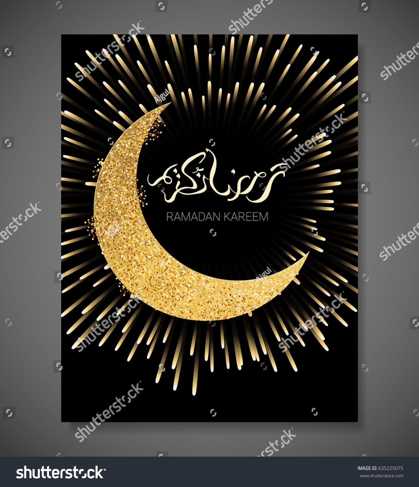 Ramadan kareem illustration golden paper moon stock vector 635225075 ramadan kareem illustration with golden paper moon vector design template for greetings card poster kristyandbryce Image collections