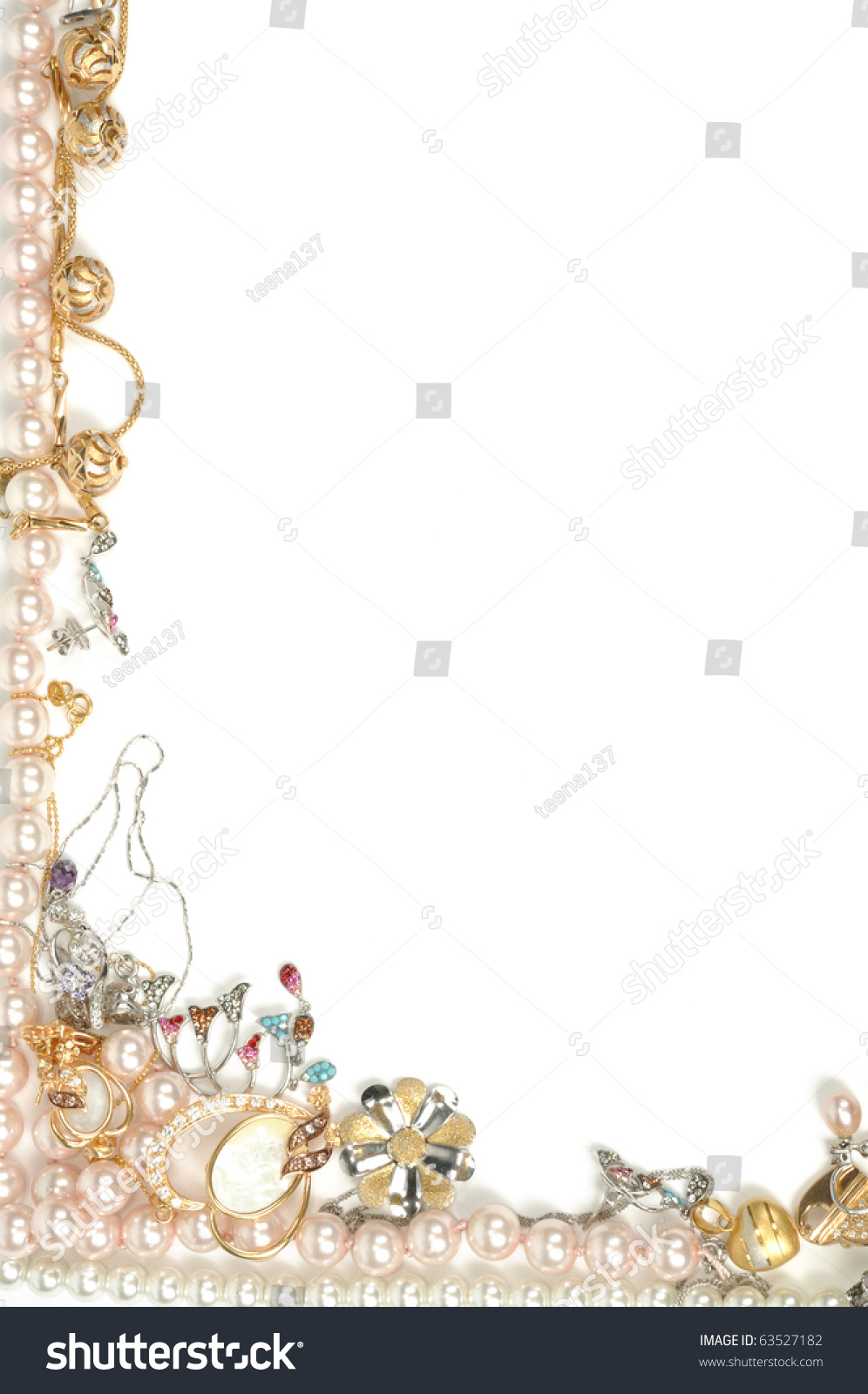 Border From Gold Jewelry Isolated On White Stock Photo
