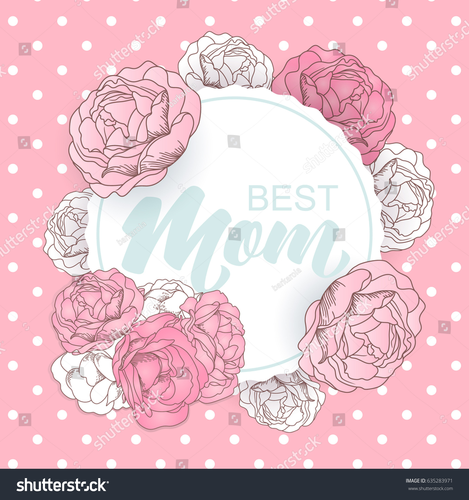 Happy Mothers Day Card Roses Polka Stock Vector