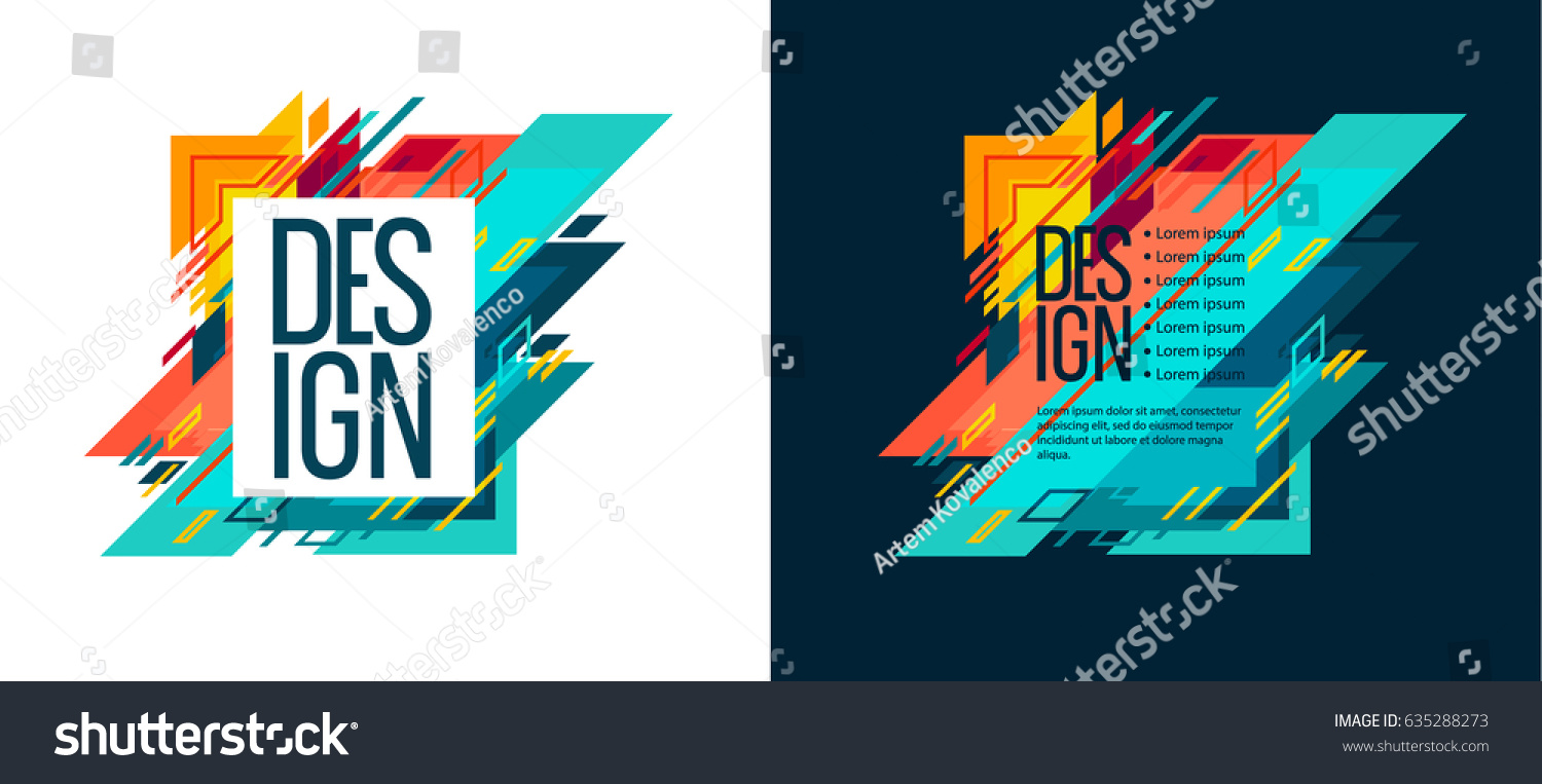 Vector Set Colorful Illustration Abstract Geometric Stock ...