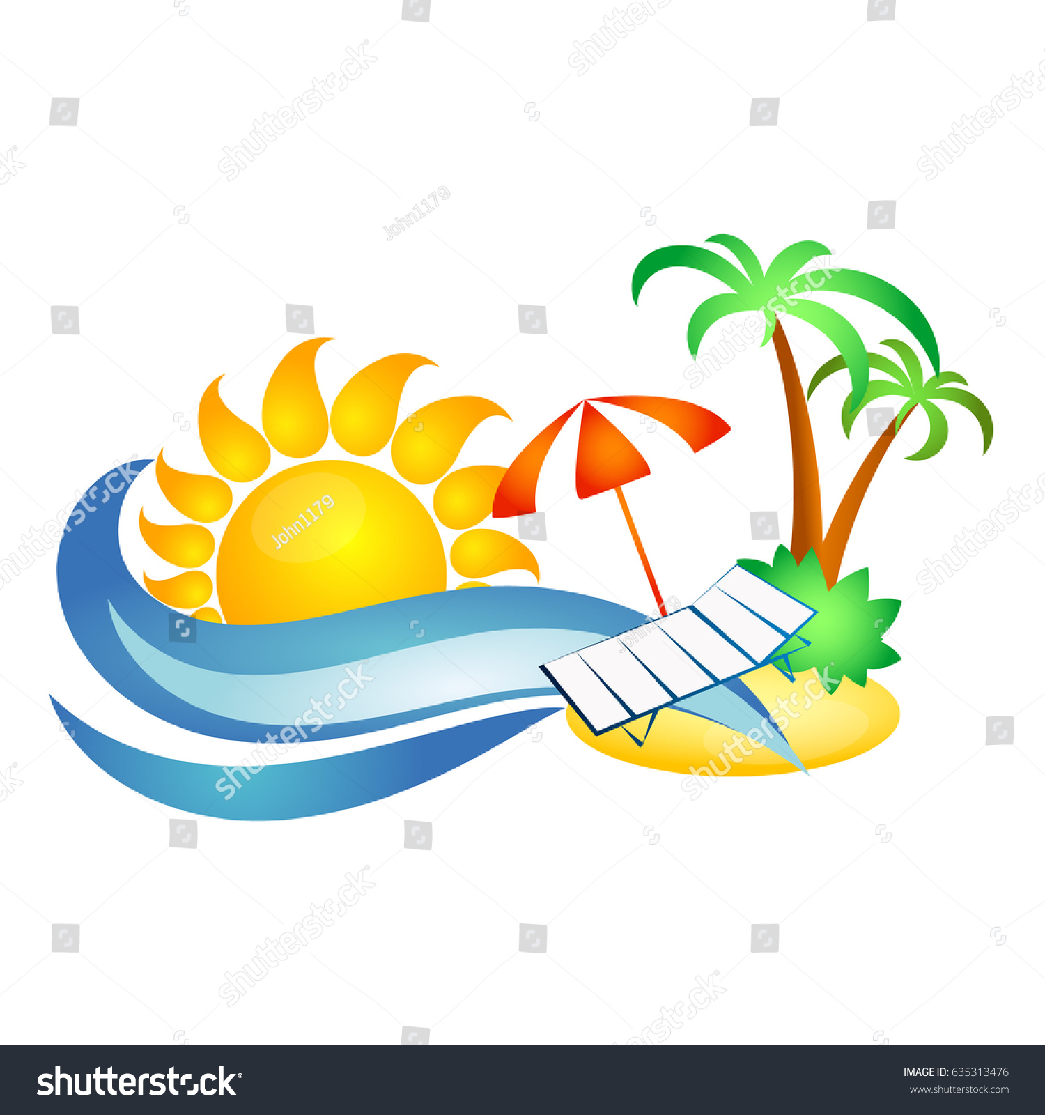 Symbol travel recreation sun sea wave stock vector 635313476 symbol for travel and recreation sun and sea wave palm trees and chaise longue biocorpaavc Choice Image