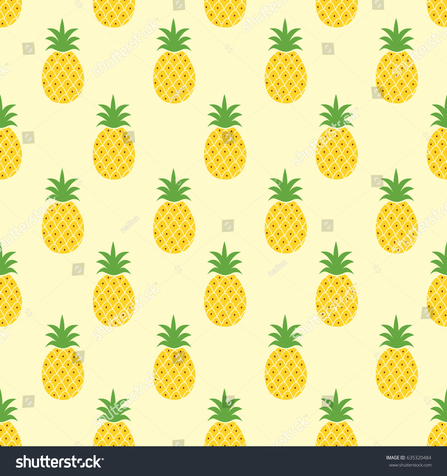 Seamless Pineapple Pattern Cute Doodle For Textile Fabric Or Wallpaper Backgrounds