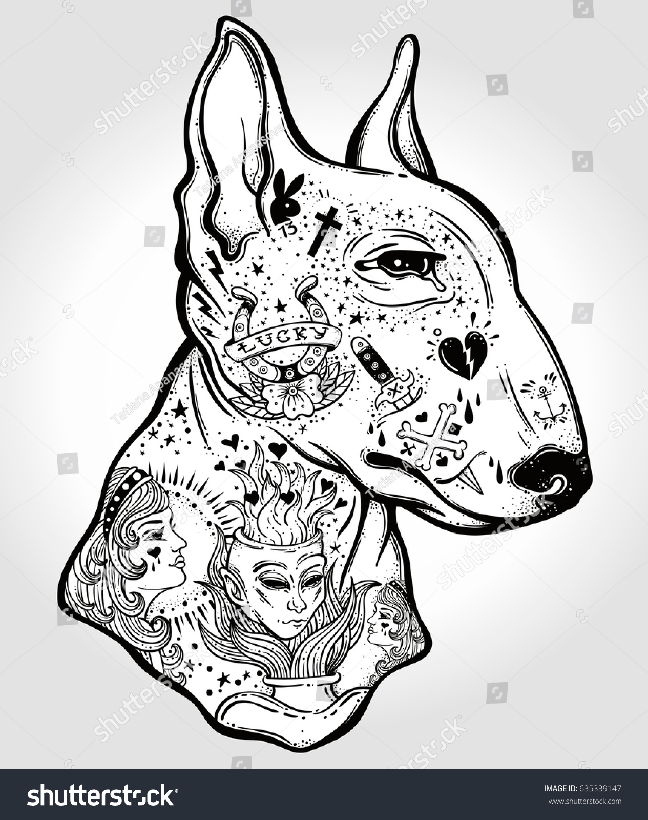 bull terriers portrait made oldstylized tattoo stock vector 635339147 shutterstock. Black Bedroom Furniture Sets. Home Design Ideas