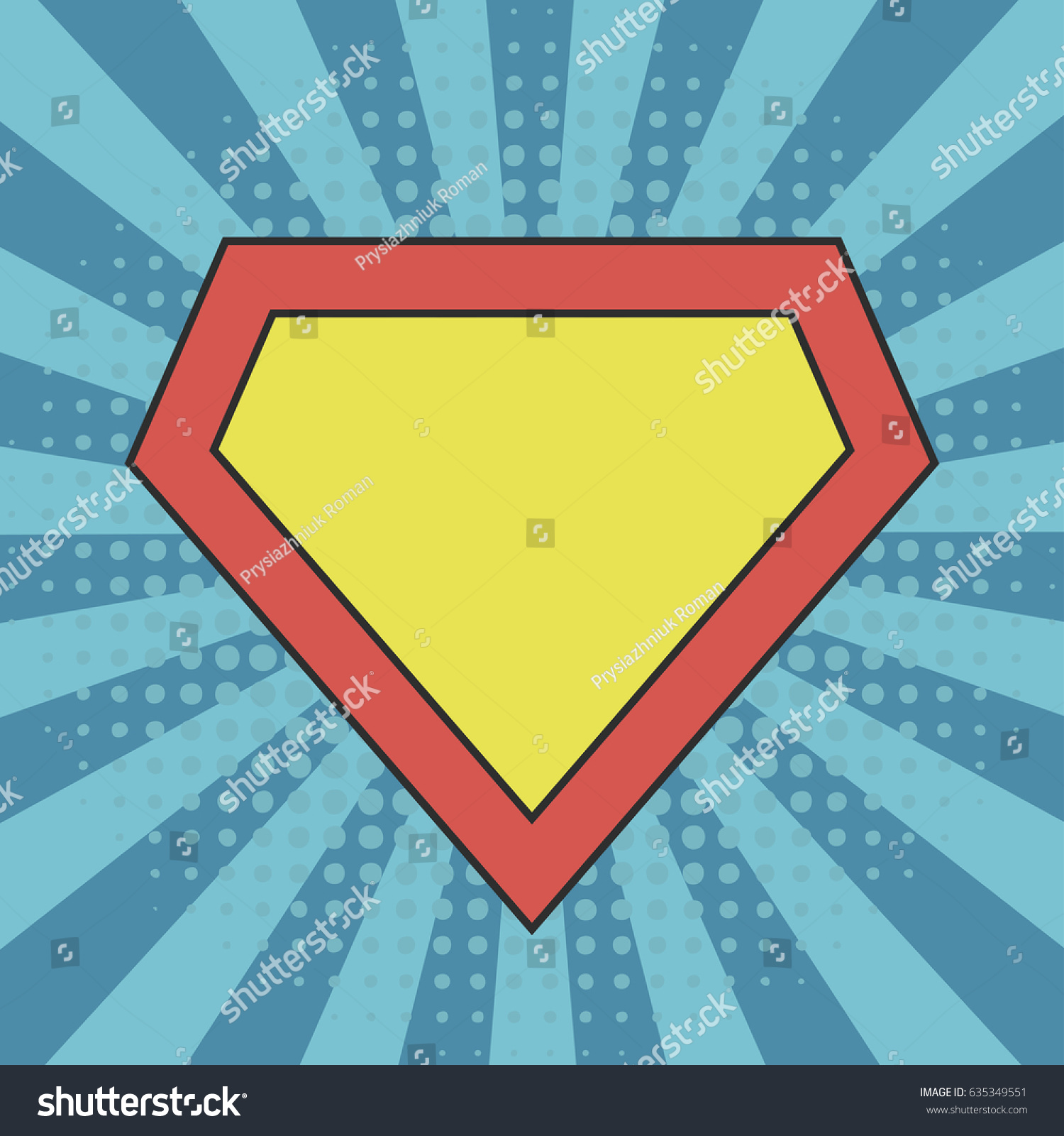 Superhero Logo Template At Comic Sunburst Background With Dots