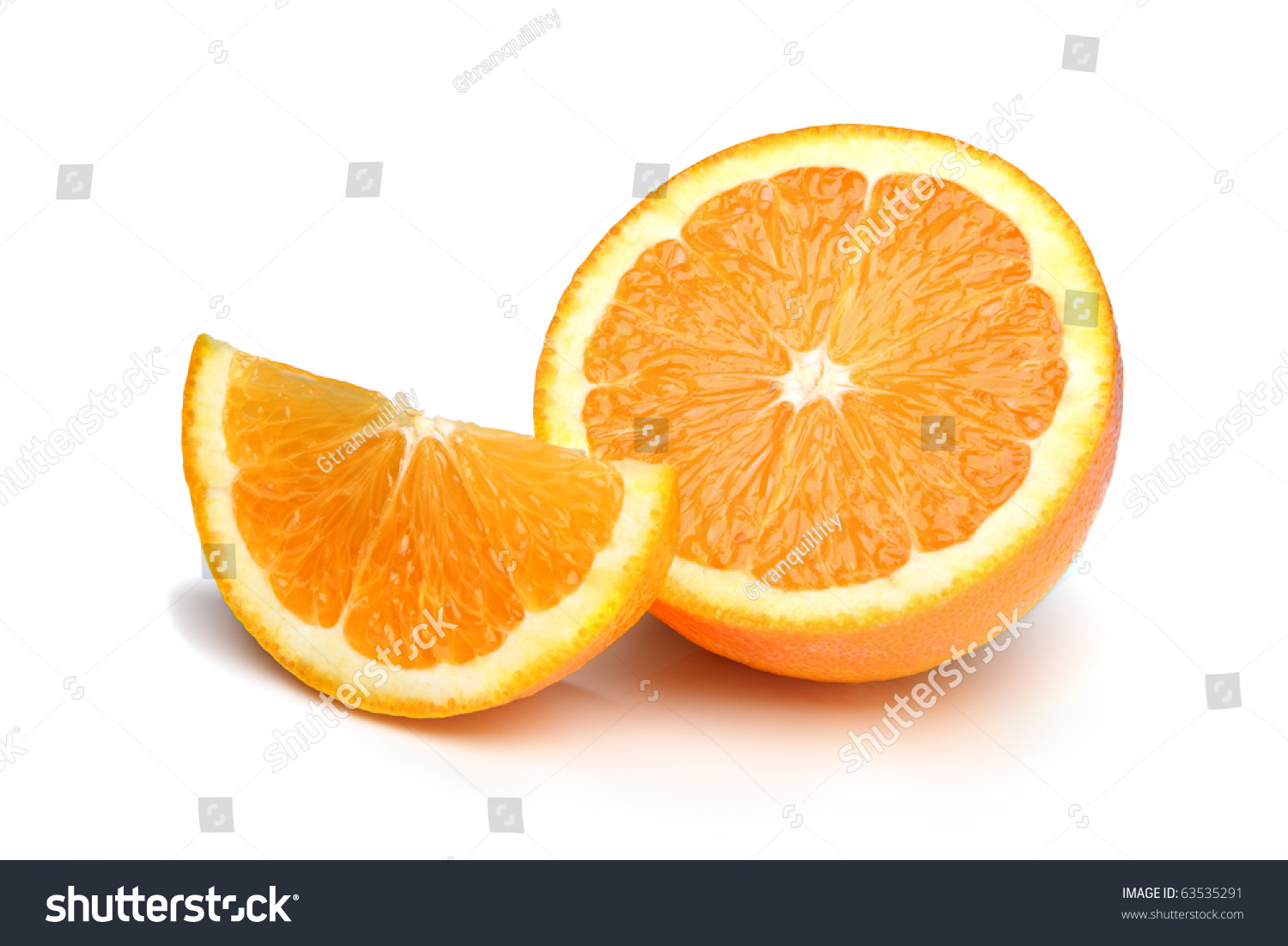 Half An Orange Plus Slice, Isolated On A White Background ...