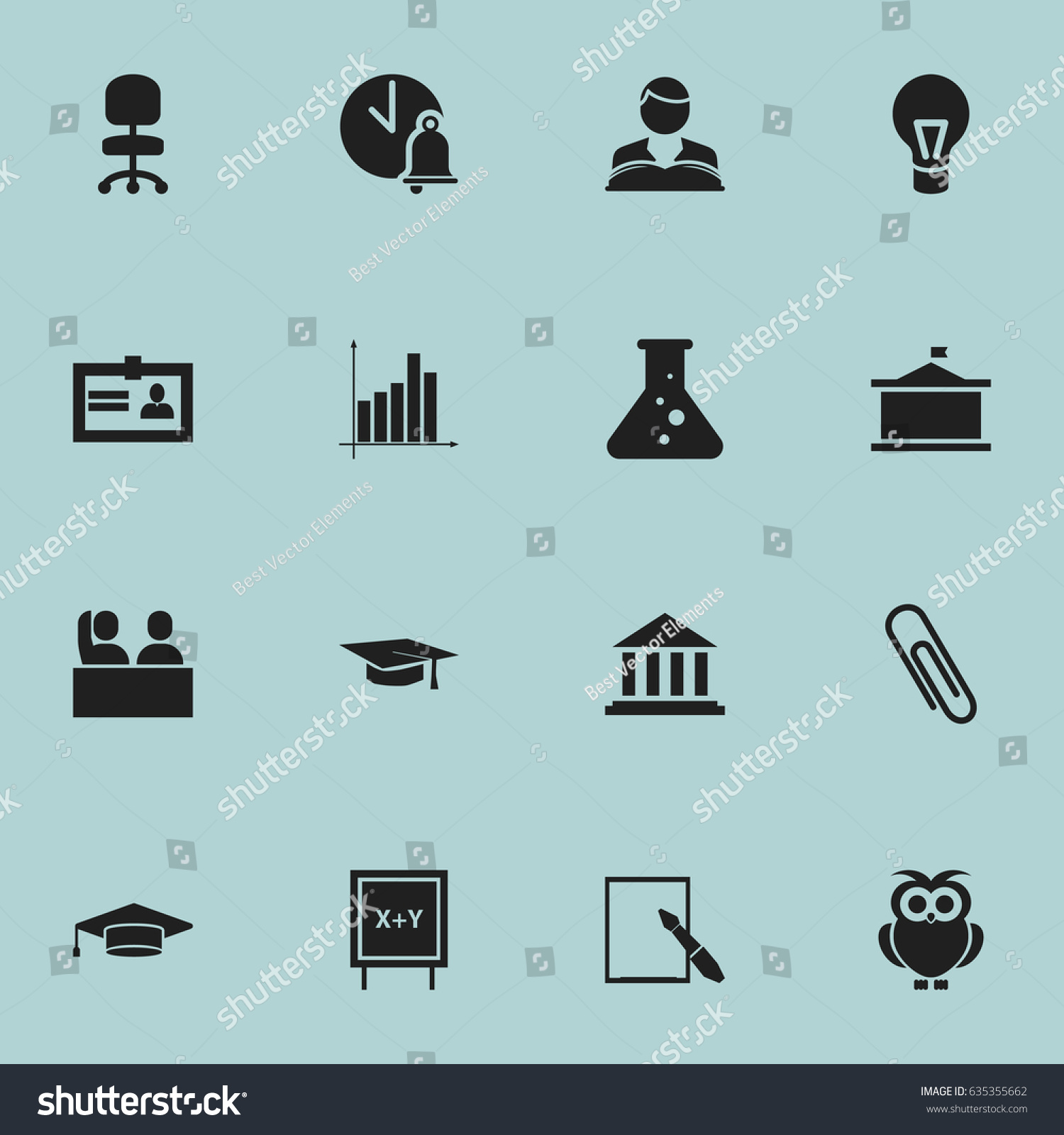 Set 16 editable school icons includes stock vector 635355662 includes symbols such as certification school bell 1betcityfo Image collections