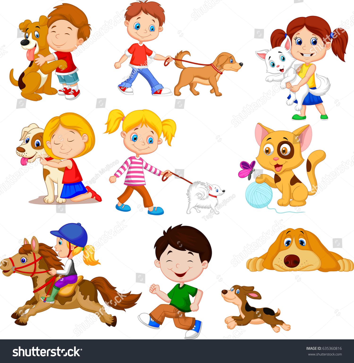 Uncategorized Cartoon Little Kids cartoon little kids pets stock vector 635360816 shutterstock with pets