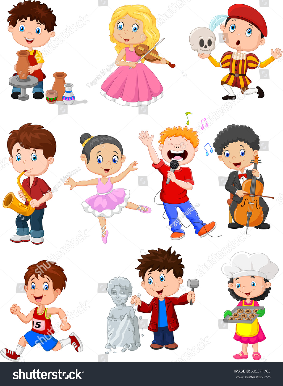 hobbies for kids. cartoon kids with different hobbies for e