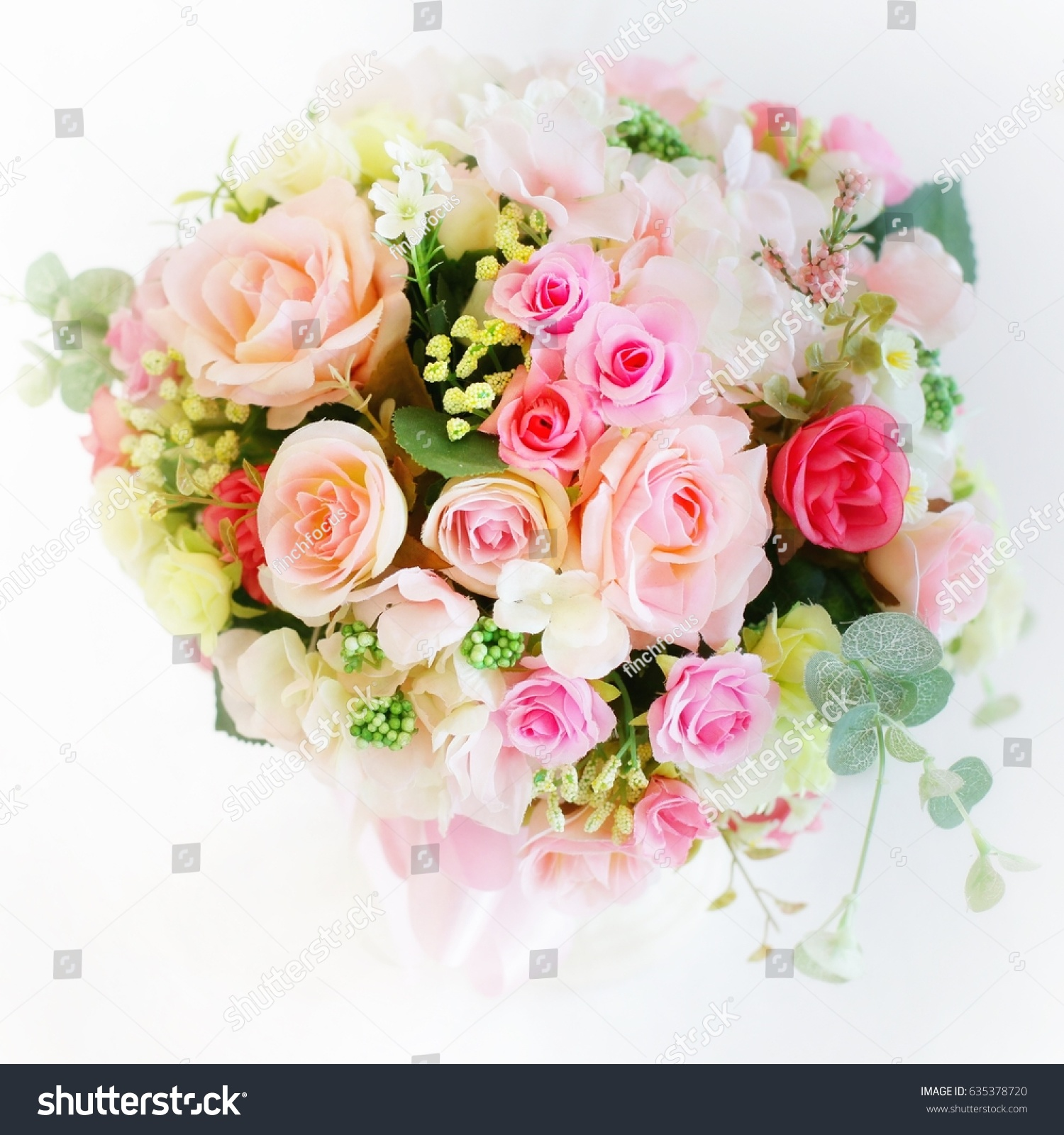 Pink Carnation Flower Arrangement On White Stock Photo Edit Now