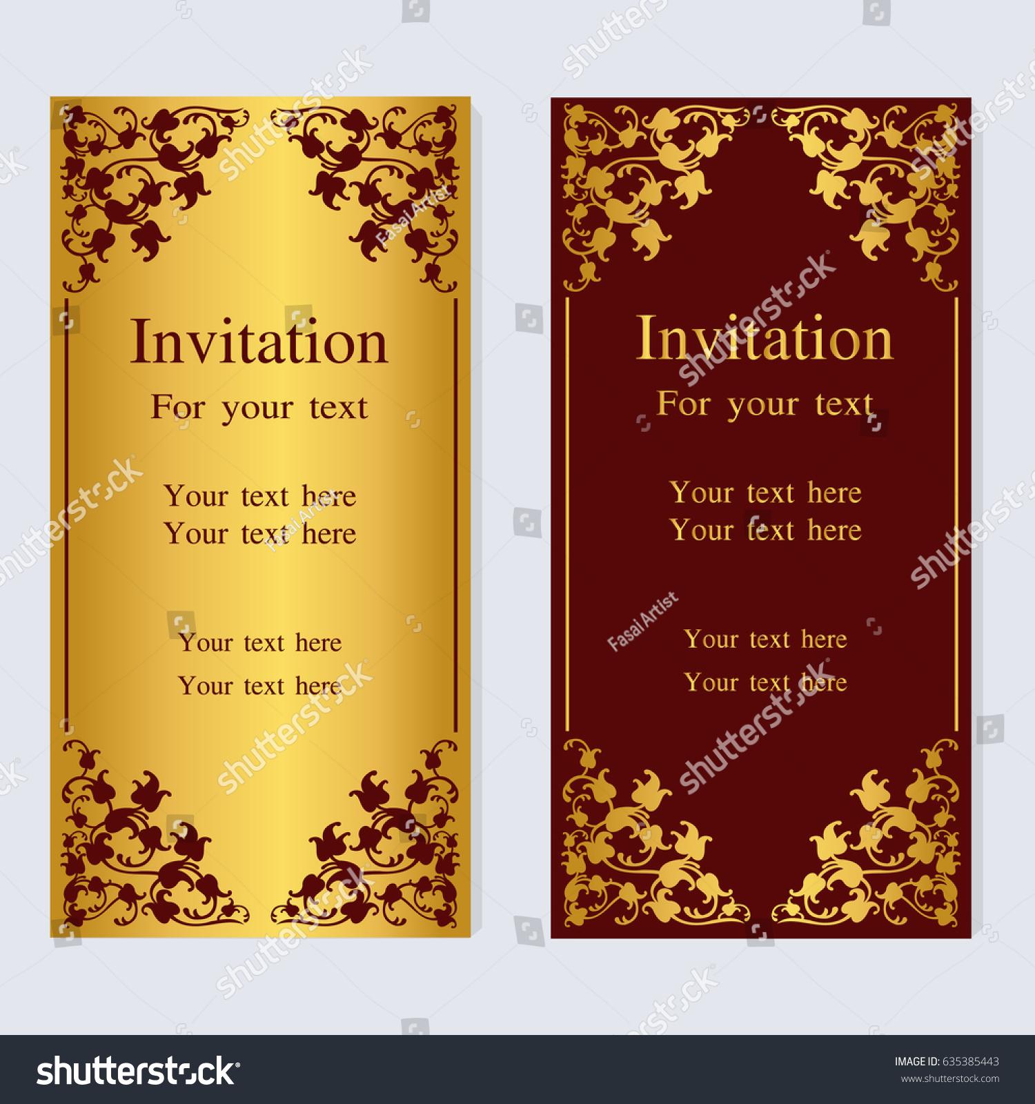 Vintage Invitation Wedding Cards Stock Vector (Royalty Free ...