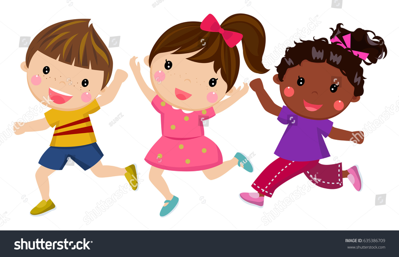 Happy Kids Cartoon Vector Clipart - FriendlyStock
