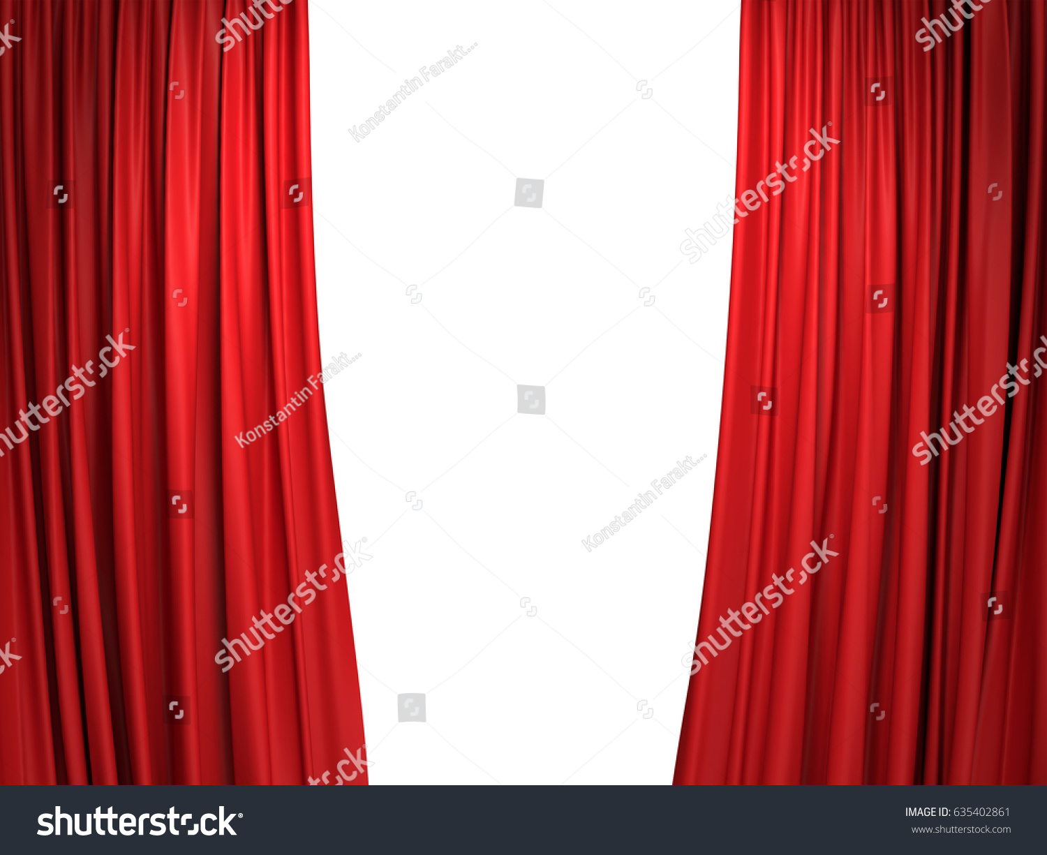Red velvet window curtains - Open Moving Red Velvet Stage Curtains On White Background 3d Illustration