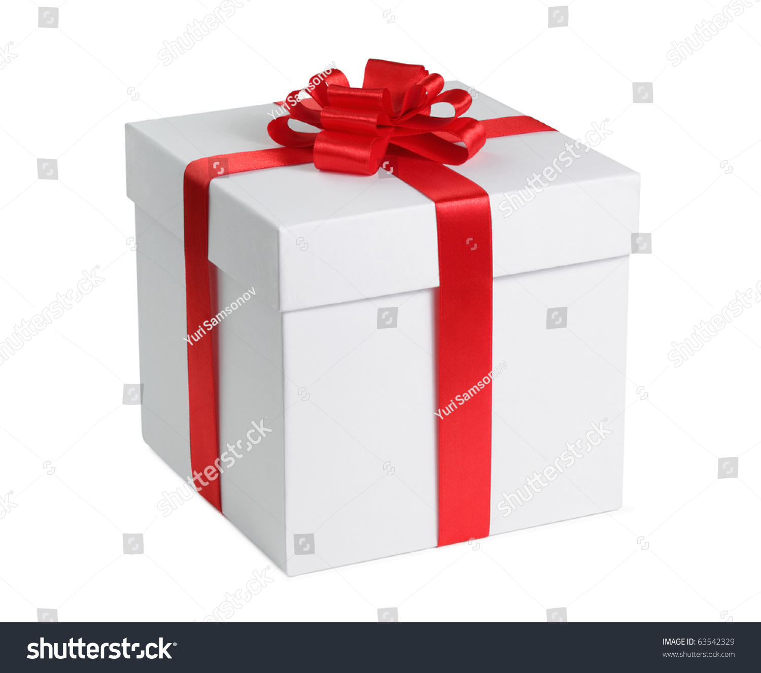 Gift box ribbon end bow isolated 63542329 shutterstock gift box with ribbon end bow isolated on the white background clipping path included negle Choice Image