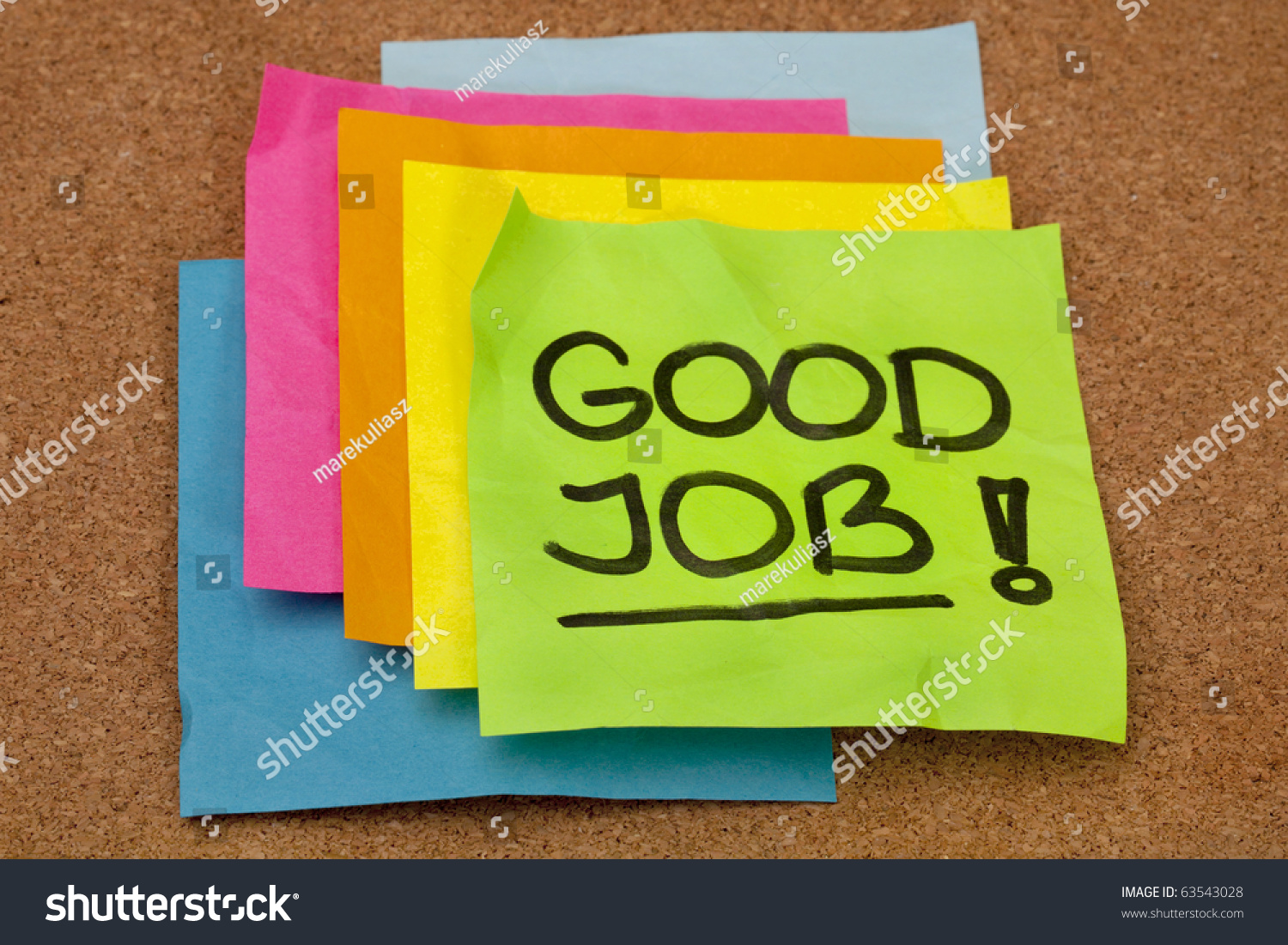 good job congratulation a stack of colorful sticky notes on save to a lightbox