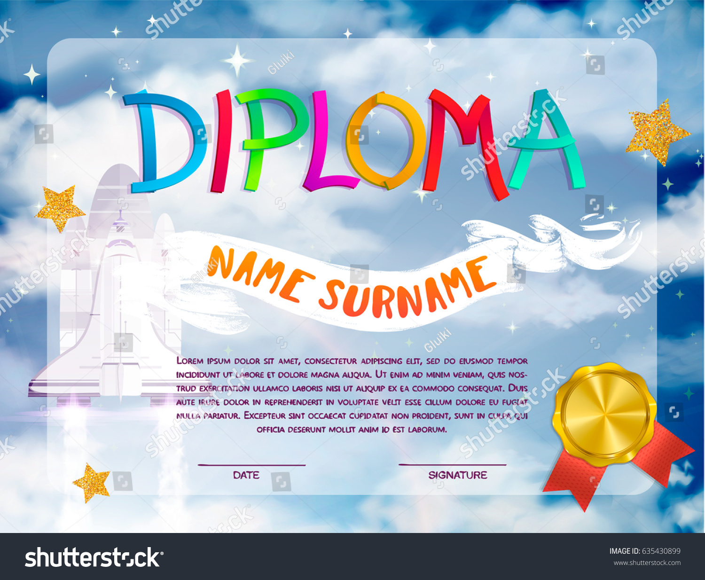 Certificate Design Kids Diploma Kindergarten Template Vector de ...