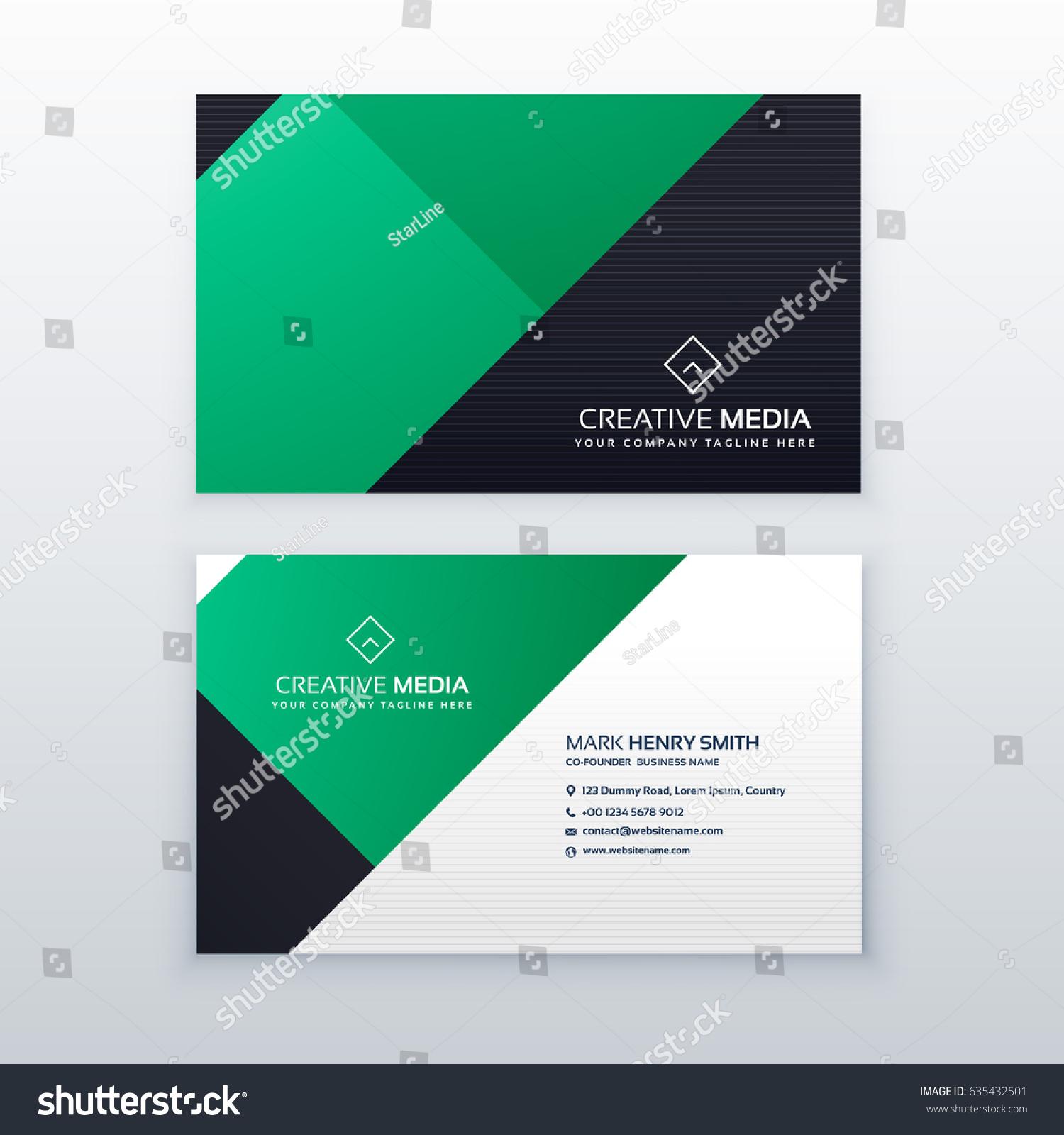 Minimal Green Geometric Business Card Design Stock Vector Royalty