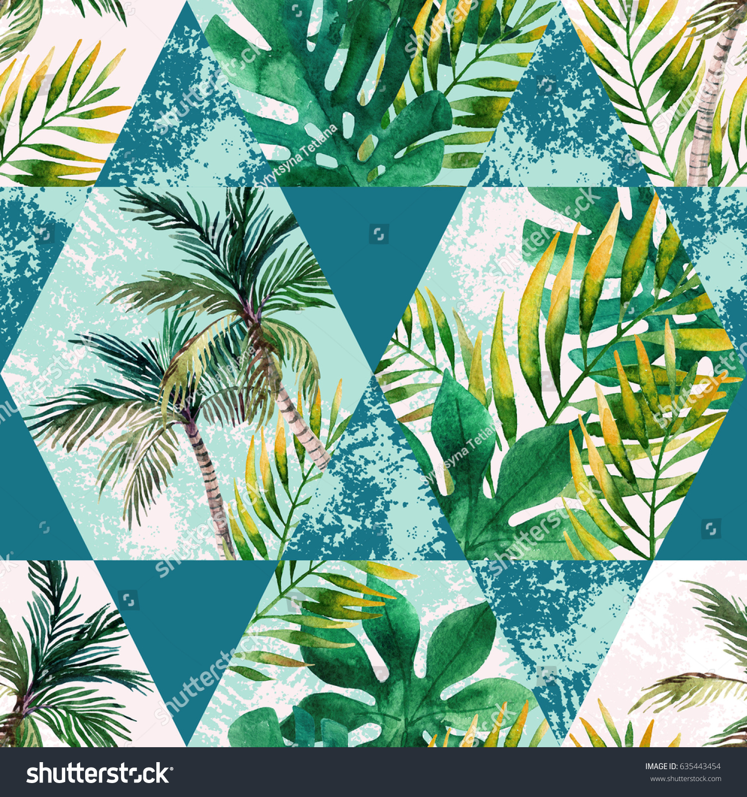 Watercolor Tropical Leaves Palm Trees Geometric Stock Illustration ...