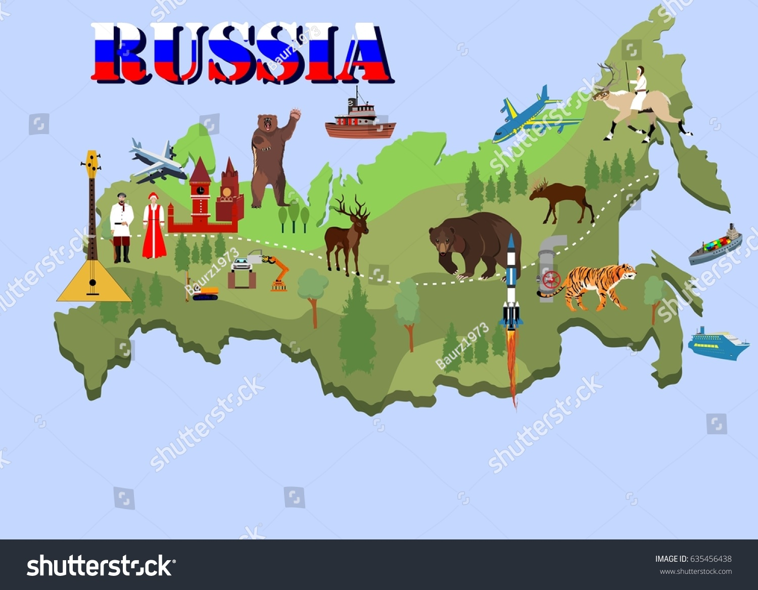 Map Of Russia For Kids.Russia Country Map Inf Ograghic Elements Stock Vector Royalty Free