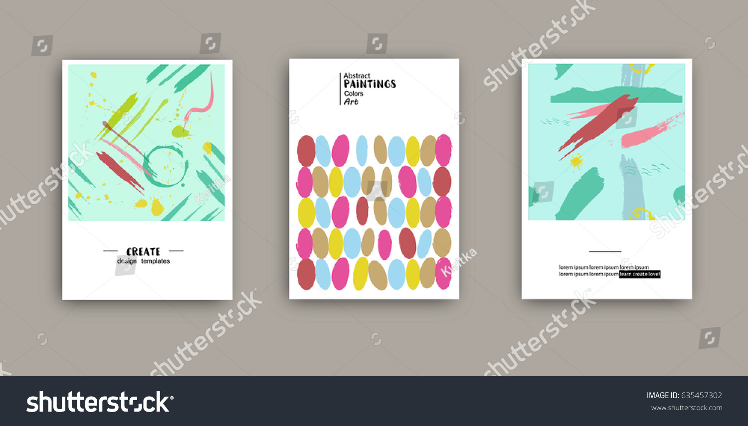 Covers Hand Drawn Texture Templates Design Stock Vector 635457302 ...