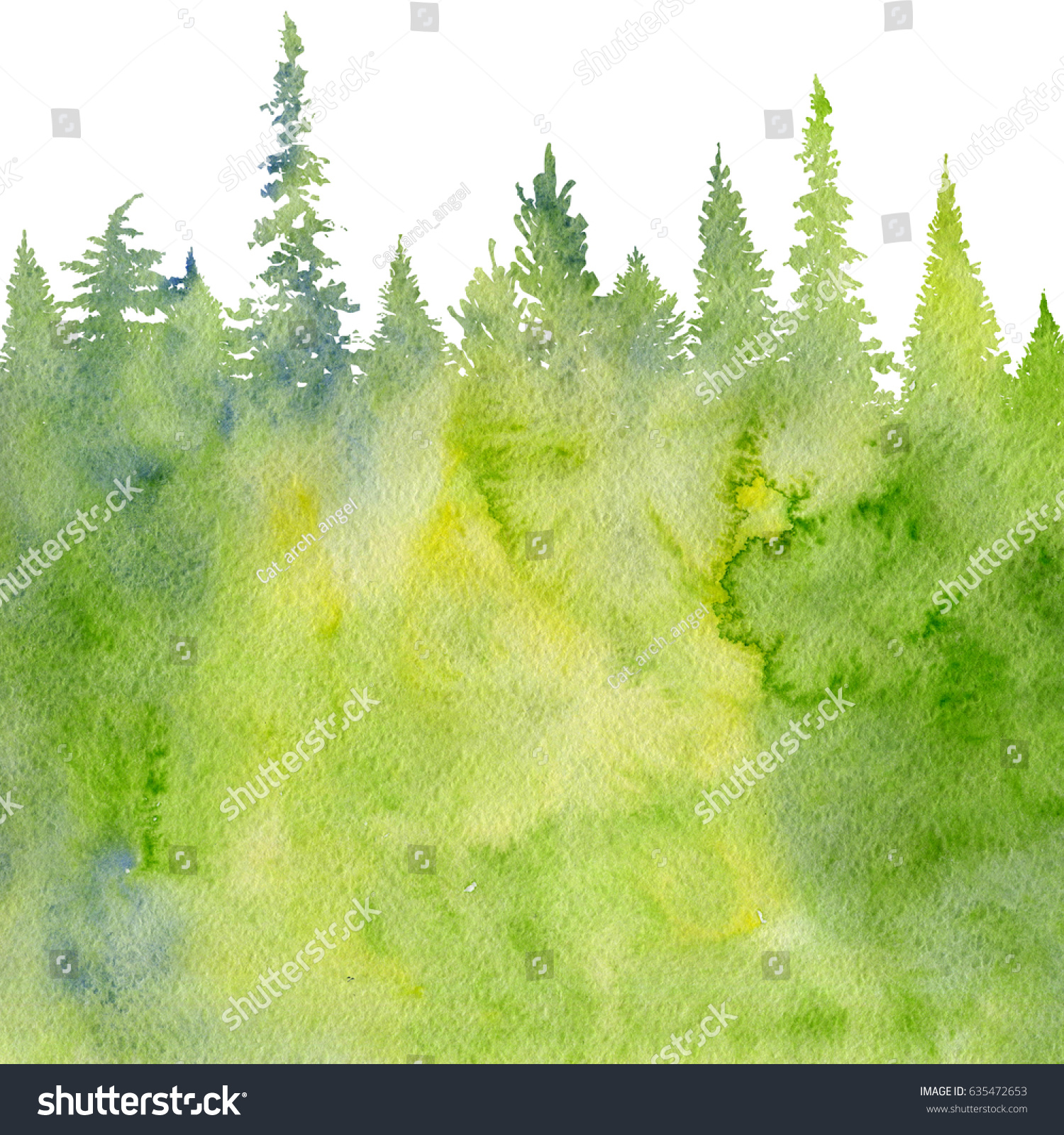 Watercolor Landscape Fir Trees Abstract Nature Stock Illustration ...