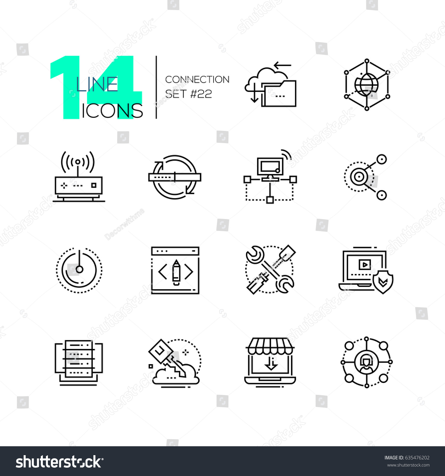 Connection Monochromatic Modern Single Line Icons Stock Illustration Phone Wiring Diagram Set Cloud Interlink Power Button
