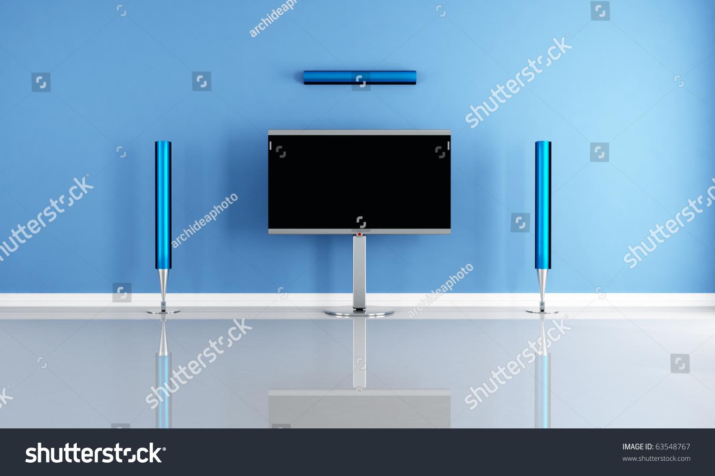 Minimalist Classroom Noise ~ Minimalist blue home theater white futuristic stock