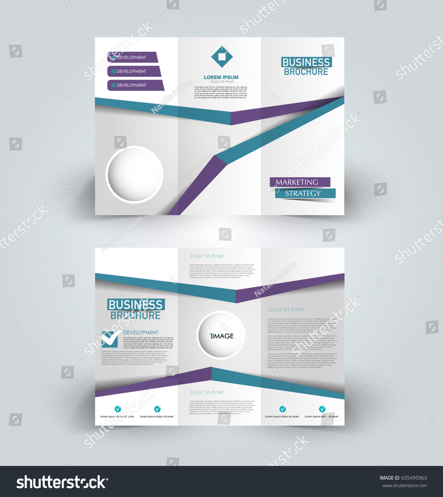 brochure template business trifold flyer creative のベクター画像
