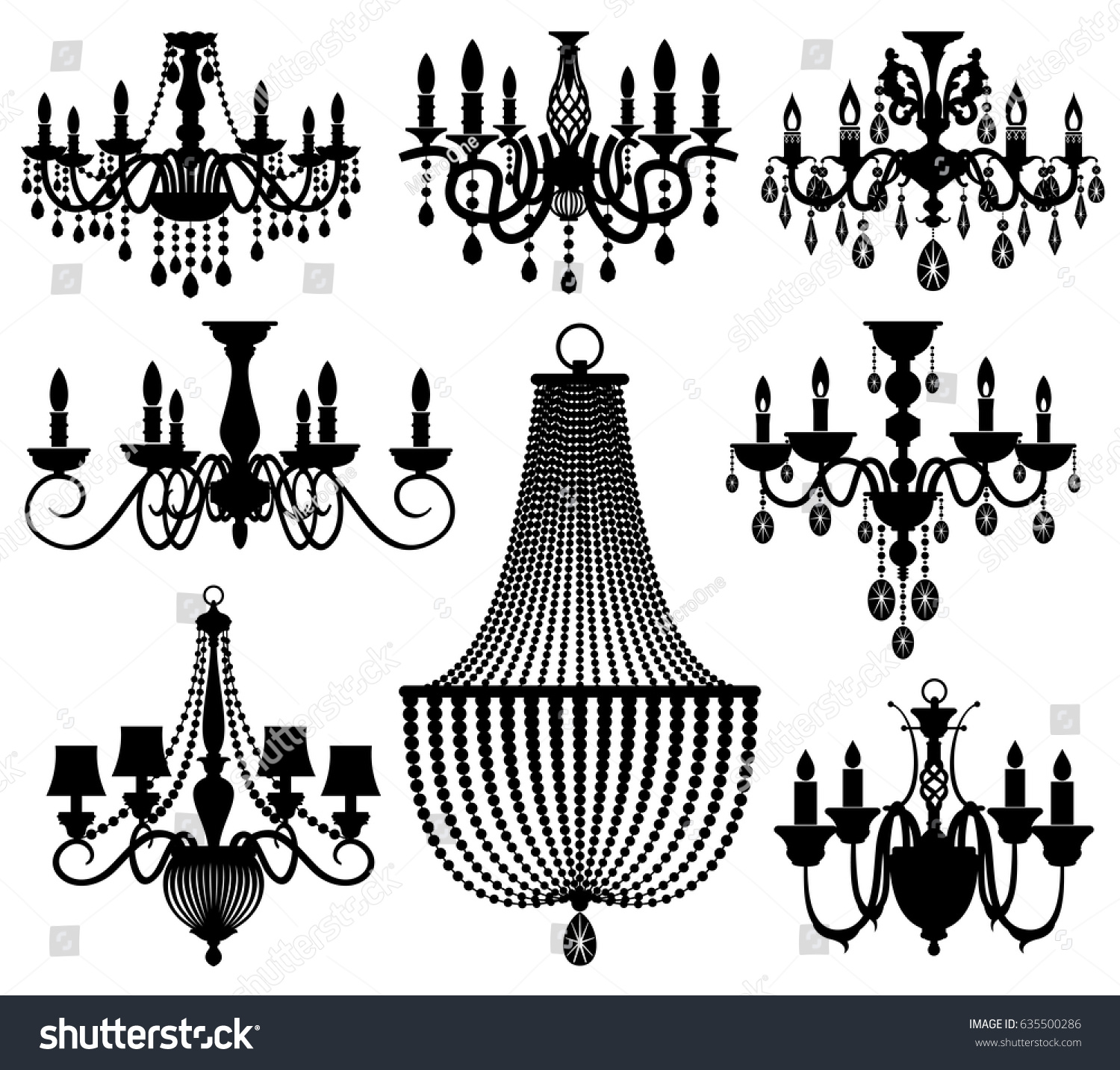 Vintage crystal chandeliers vector silhouettes isolated stock vintage crystal chandeliers vector silhouettes isolated stock vector 635500286 shutterstock arubaitofo Image collections