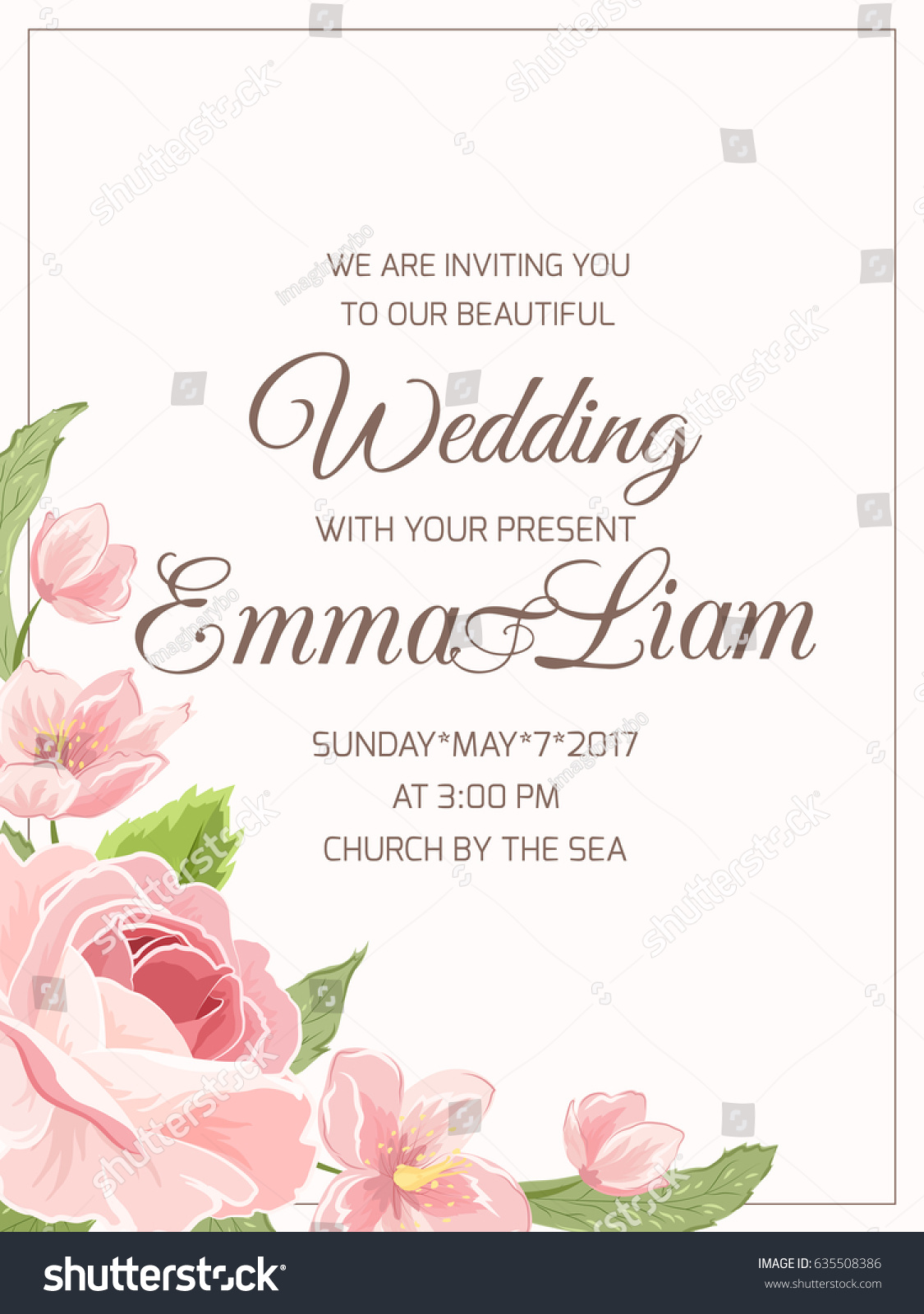 Wedding Marriage Invitation Card Template RSVP Stock Photo (Photo ...