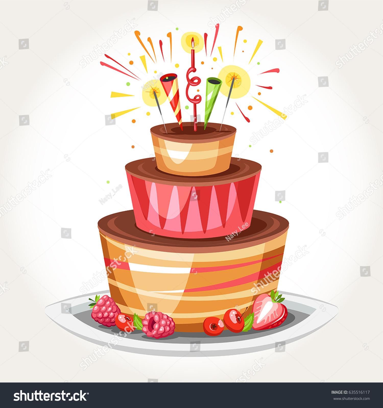 Birthday Cake Bengal Lightsand Fireworks Stock Vector Royalty Free