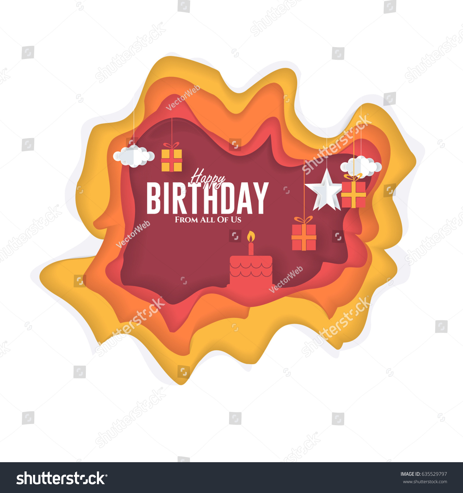 Happy Birthday Ornament Elements Congratulations Greeting Stock