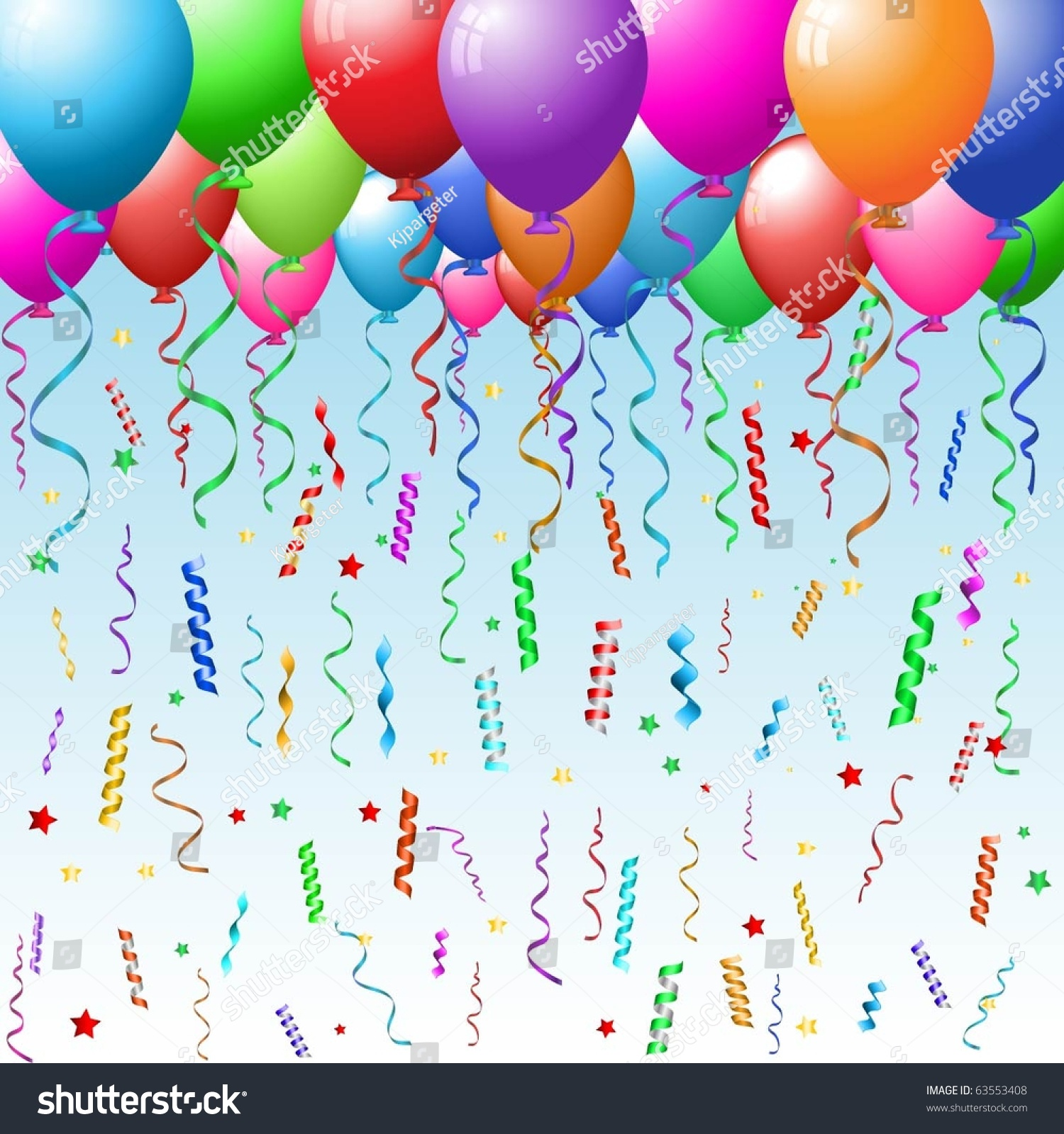 Party Background With Colourful Balloons, Confetti And Streamer Stock ...