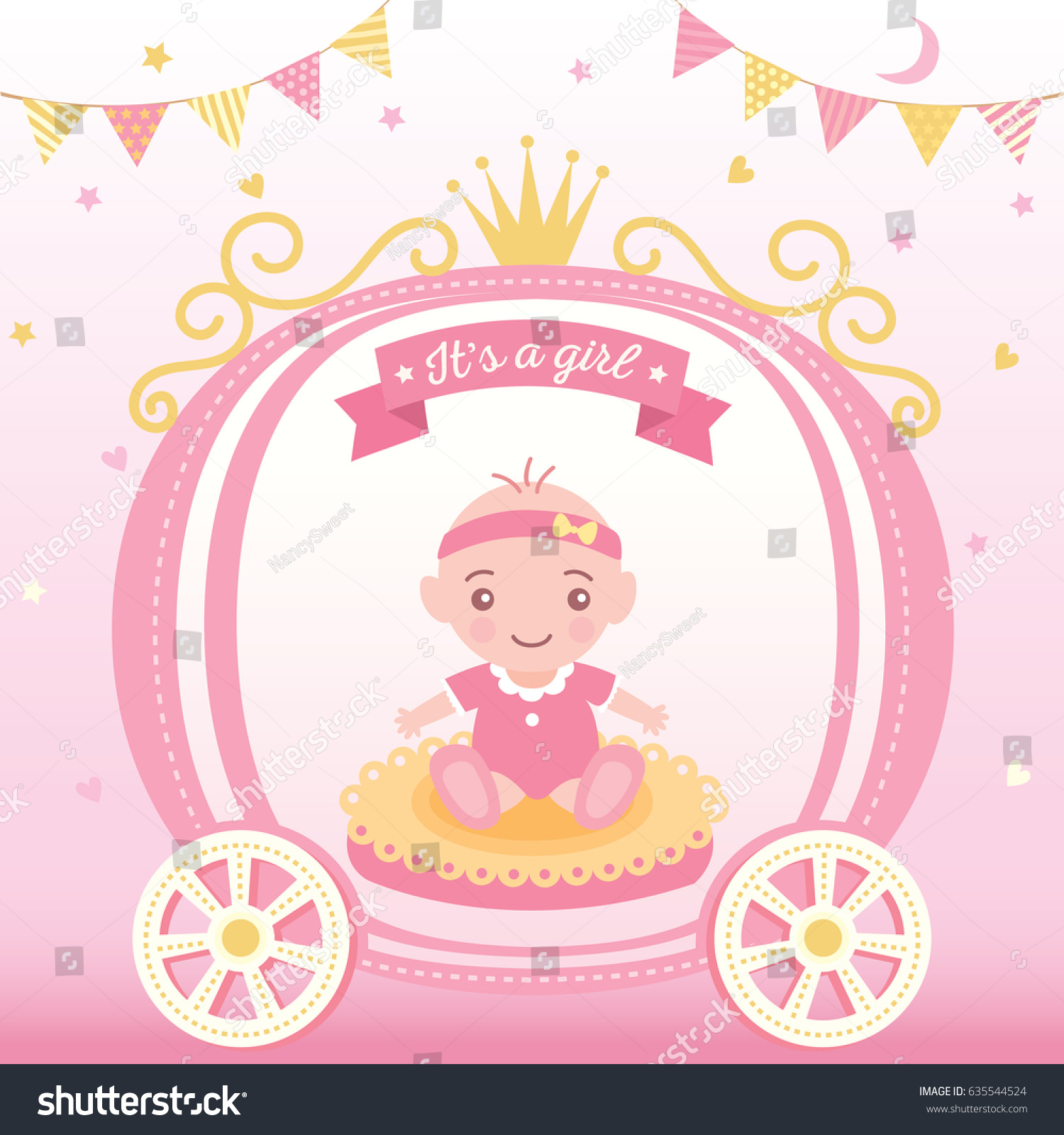 Illustration Vector Of Baby Shower Greeting Card For New Born Girls  Decorated With Princess Cart And