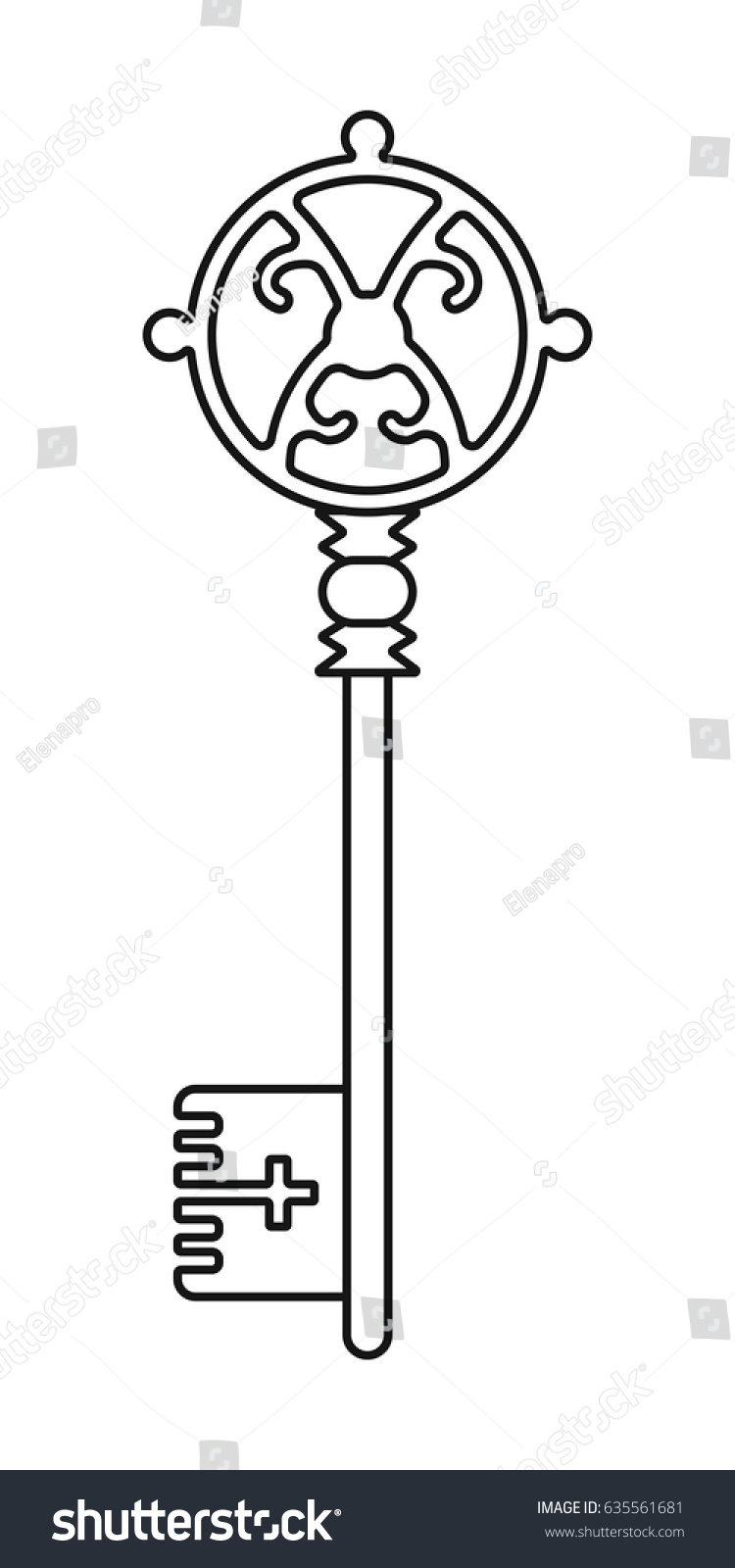 Vintage Key For Coloring Book Black Linear Silhouette Isolated On White Background