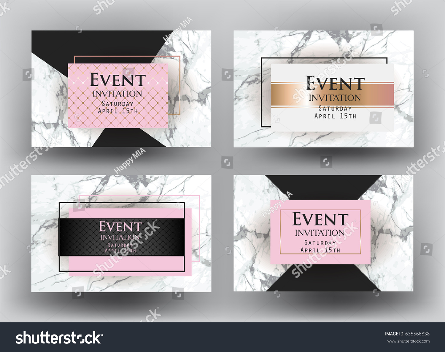 elegant event invitation cards marble vector stock vector royalty
